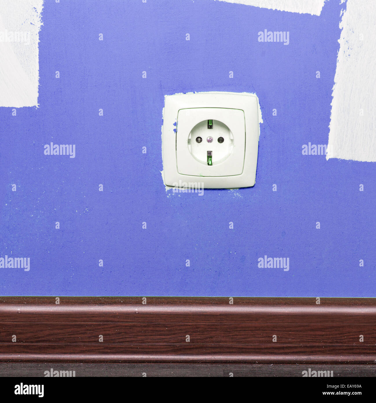 Electrical outlet on wall in room, interior Stock Photo
