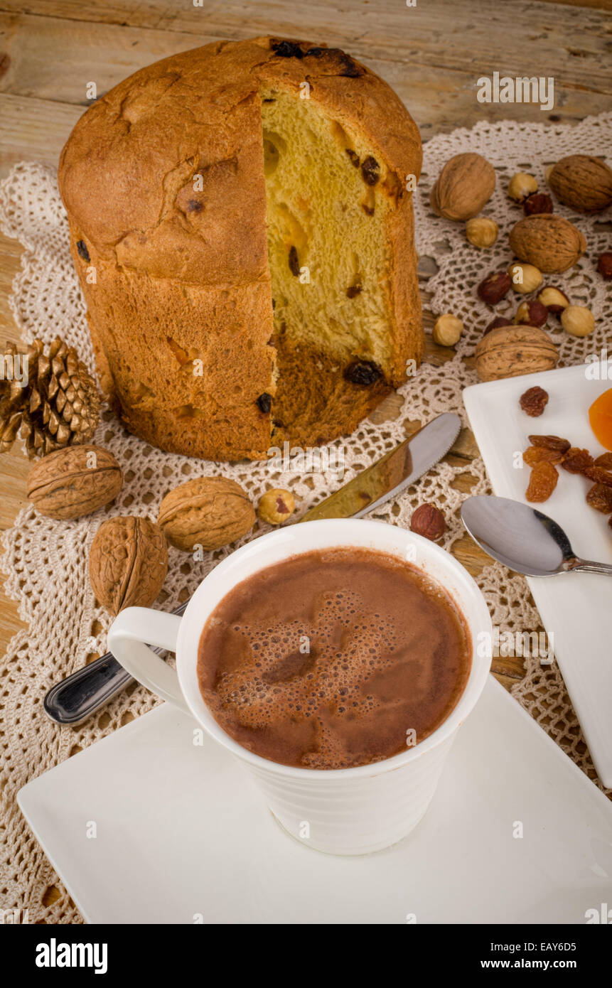 Homemade Panettone Served With Hot Chocolate An Italian Classic