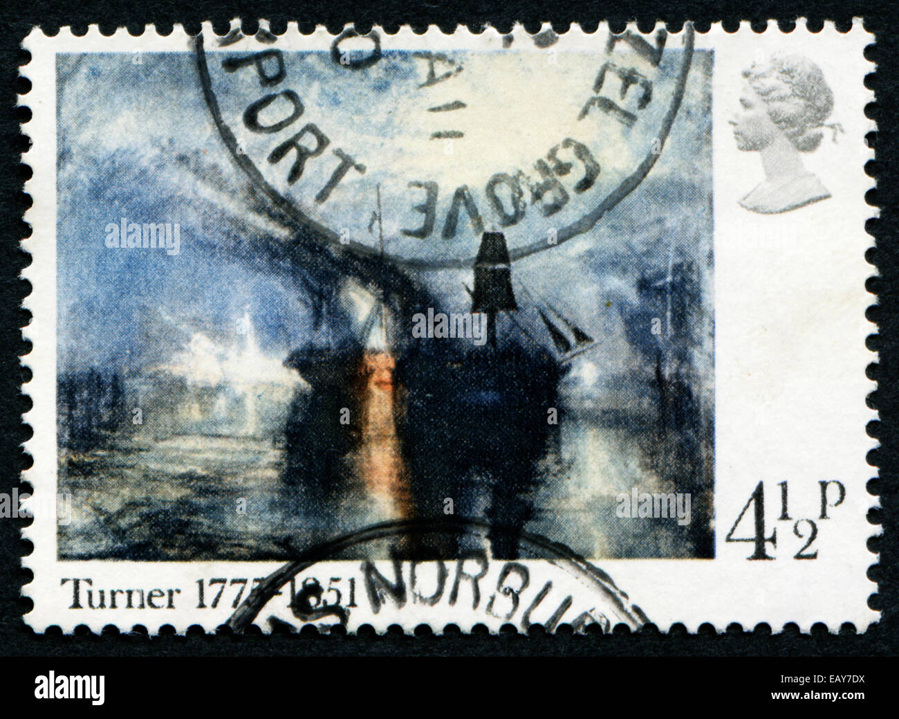 UNITED KINGDOM - CIRCA 1975: A stamp printed in Great Britain shows a picture by Turner, to commemorate the 200th - Stock Image