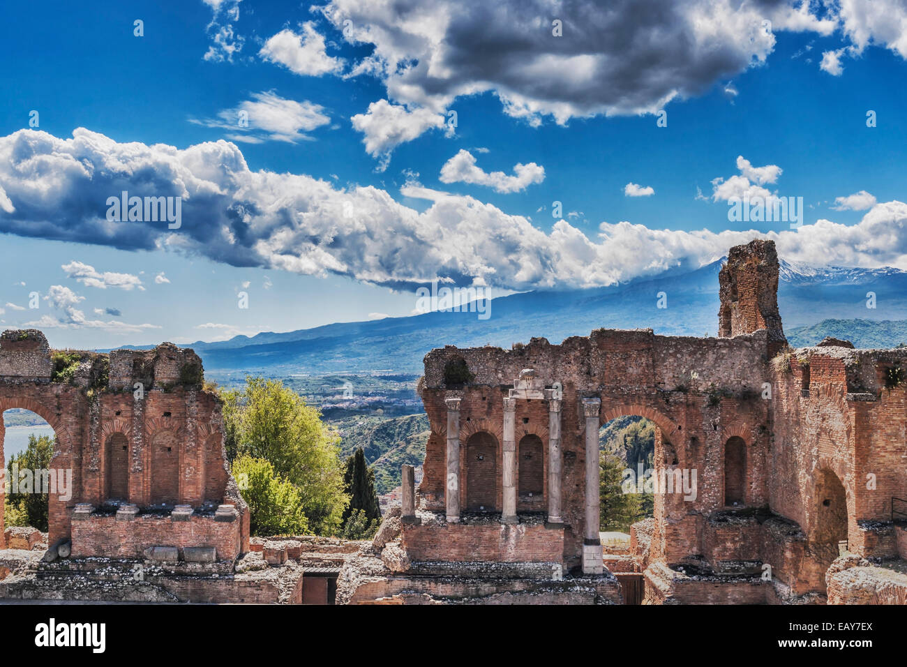 The ancient theater of Taormina is also known as Teatro Greco (Greek theater), Province Messina, Sicily, Italy, Stock Photo