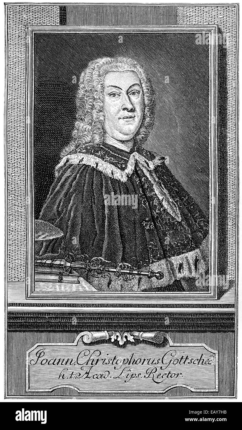 Johann Christoph Gottsched, 1700 - 1766, a German writer, dramatist and literary theorists of the Enlightenment, Stock Photo