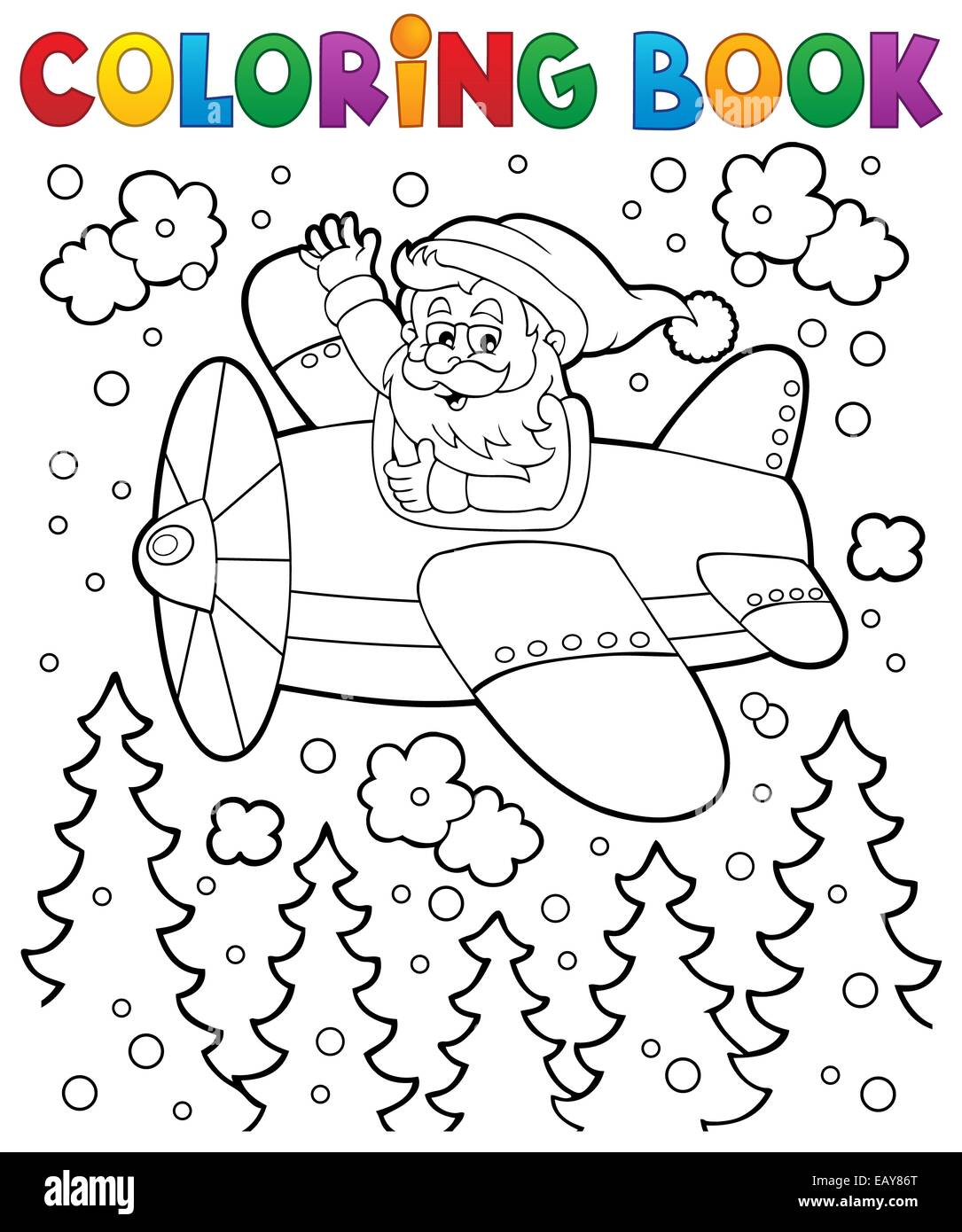 Coloring book Santa Claus in plane - picture illustration Stock ...