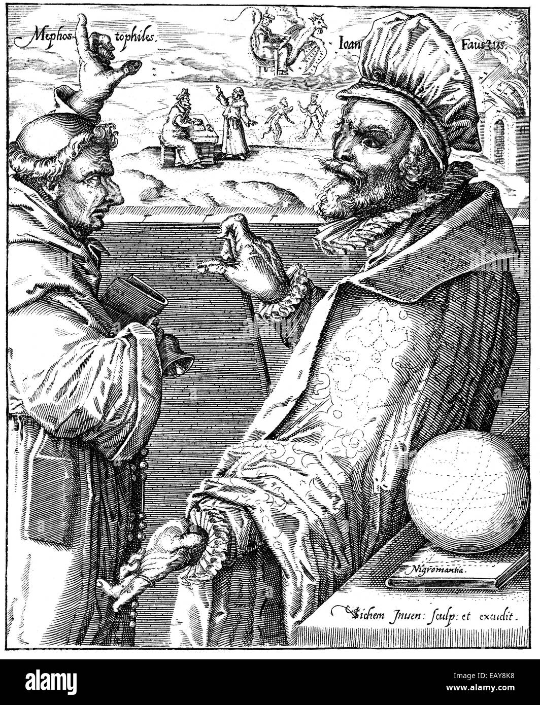 the Faustian pact between Mephistopheles or Mephisto and Heinrich Faust, 16th century, der Teufelspakt zwischen Stock Photo