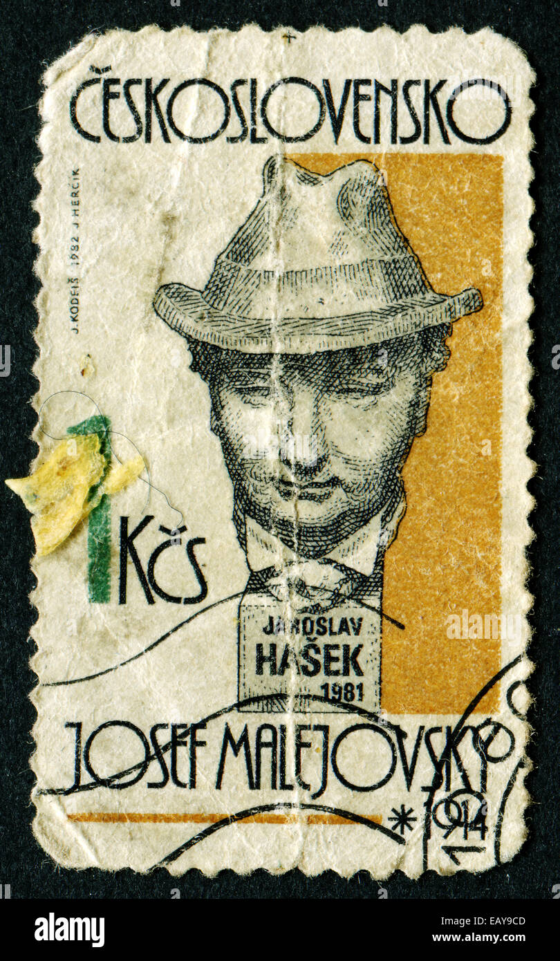CZECHOSLOVAKIA - CIRCA 1982: A stamp printed in Czechoslovakia, shows sculpture portrait of Jaroslav Hasek by sculptor Stock Photo