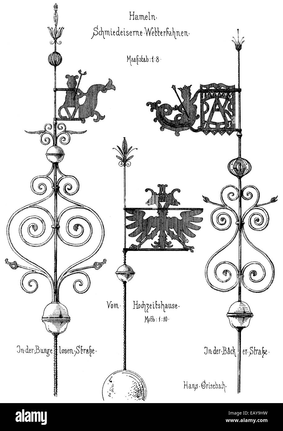 Historical architectural illustrations from the 19th Century, 1875, wrought-iron weather vanes in the style of the - Stock Image