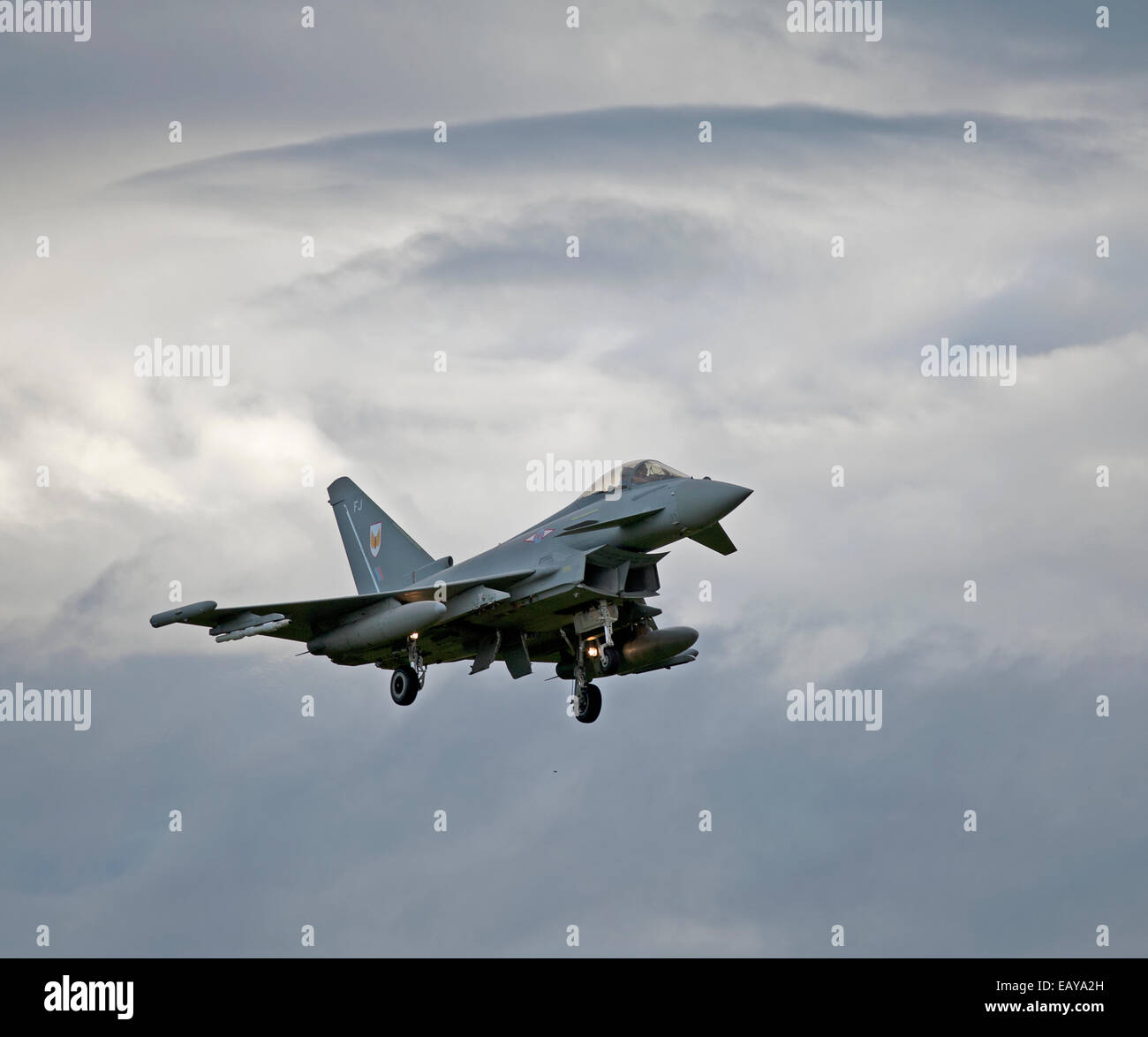 Eurofighter Typhoon FRG4 on approach to its Home Base at RAF Lossiemouth, Morayshire.  SCO 9174. - Stock Image