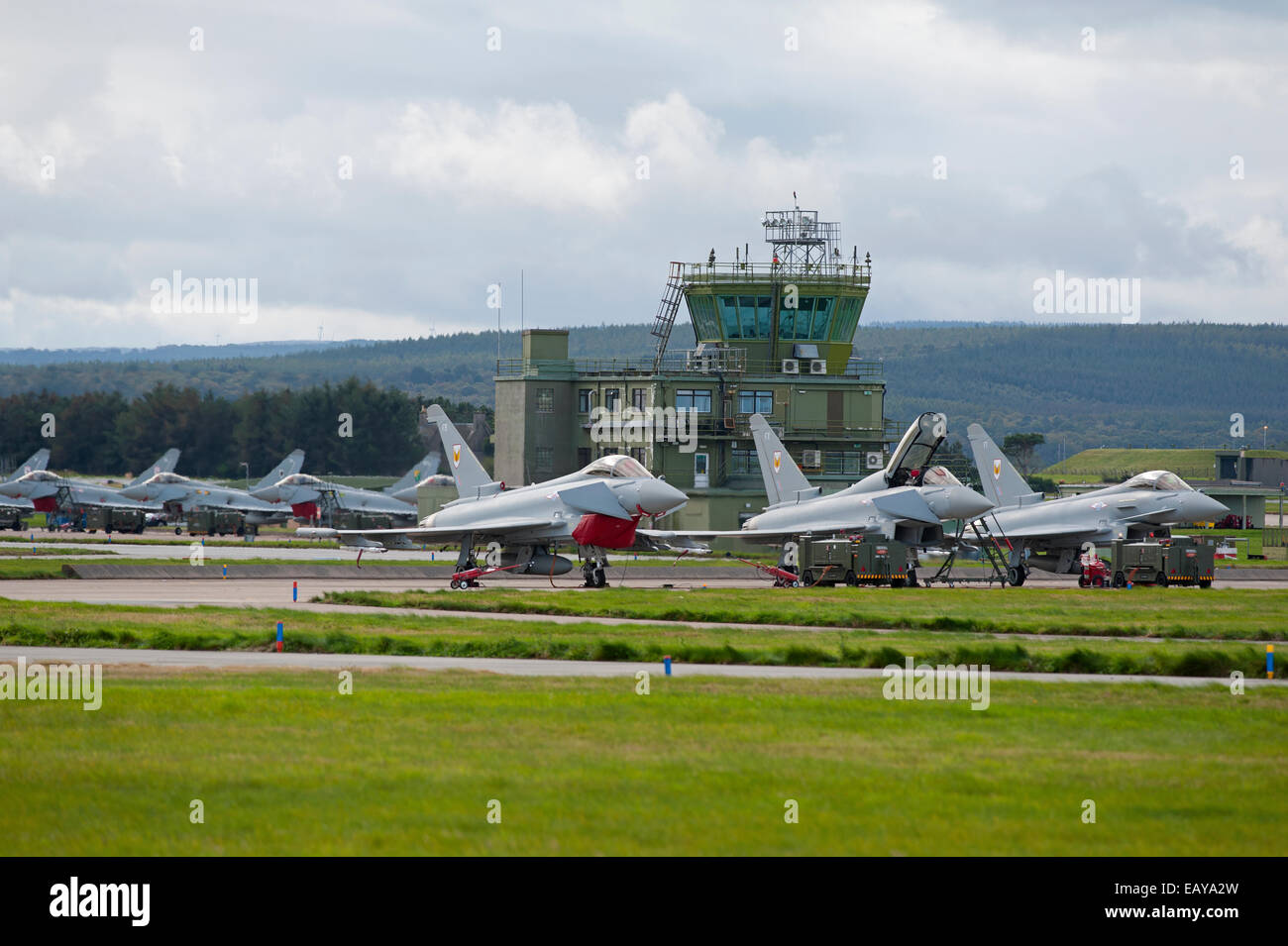 RAF No 1 & 6 Squadron Eurofighter Typhoons FRG4s Home Base Lossiemouth, Moray Scotland.  SCO 9175 - Stock Image