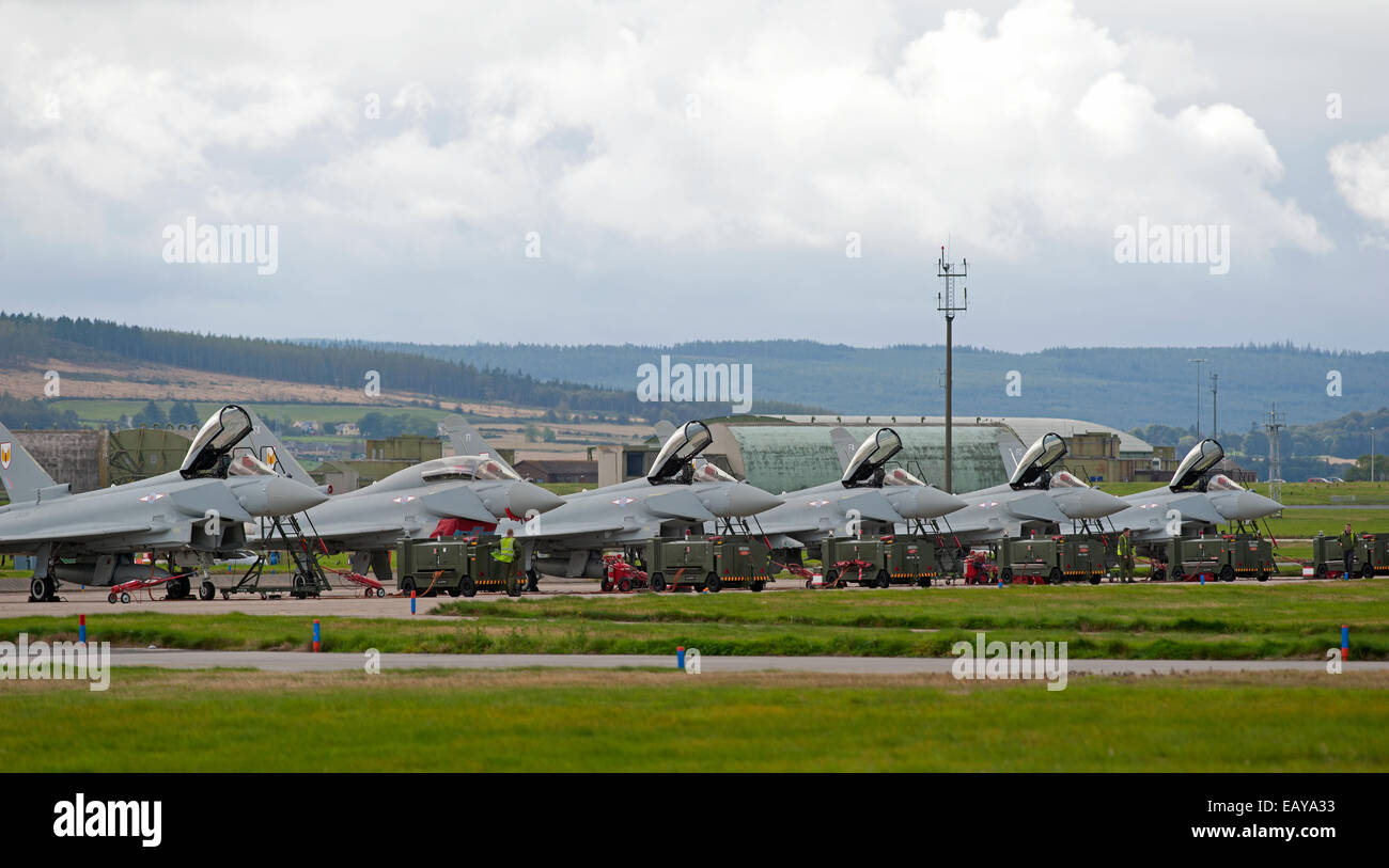 RAF No 1 Squadron Eurofighter Typhoons FRG4s Home Base Lossiemouth, Moray Scotland.  SCO 9176 - Stock Image