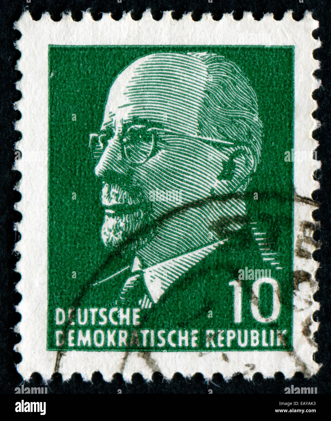 GERMANY - CIRCA 1961: post stamp printed in GDR shows Chairman Walter Ulbricht (communist politician, first secretary Stock Photo