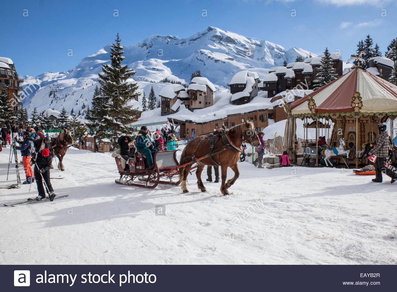 Avoriaz, french ski resort in the Alps, sledge in the town - Stock Image
