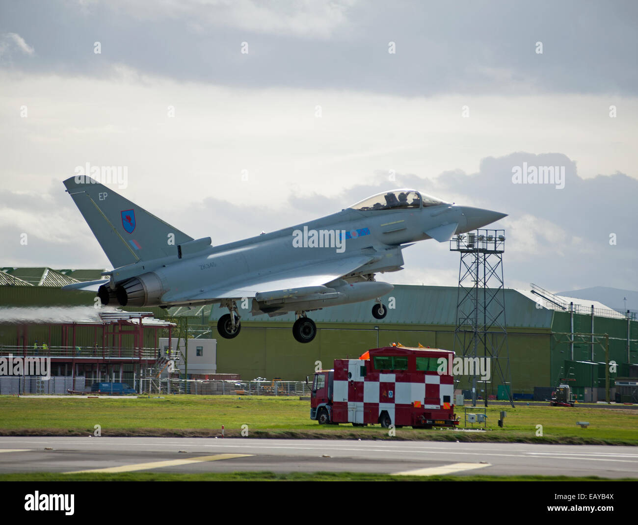 Eurofighter Typhoon FRG4 Military Fast Jet Fighter about to land at RAF Lossiemouth.  SCO 9169 - Stock Image