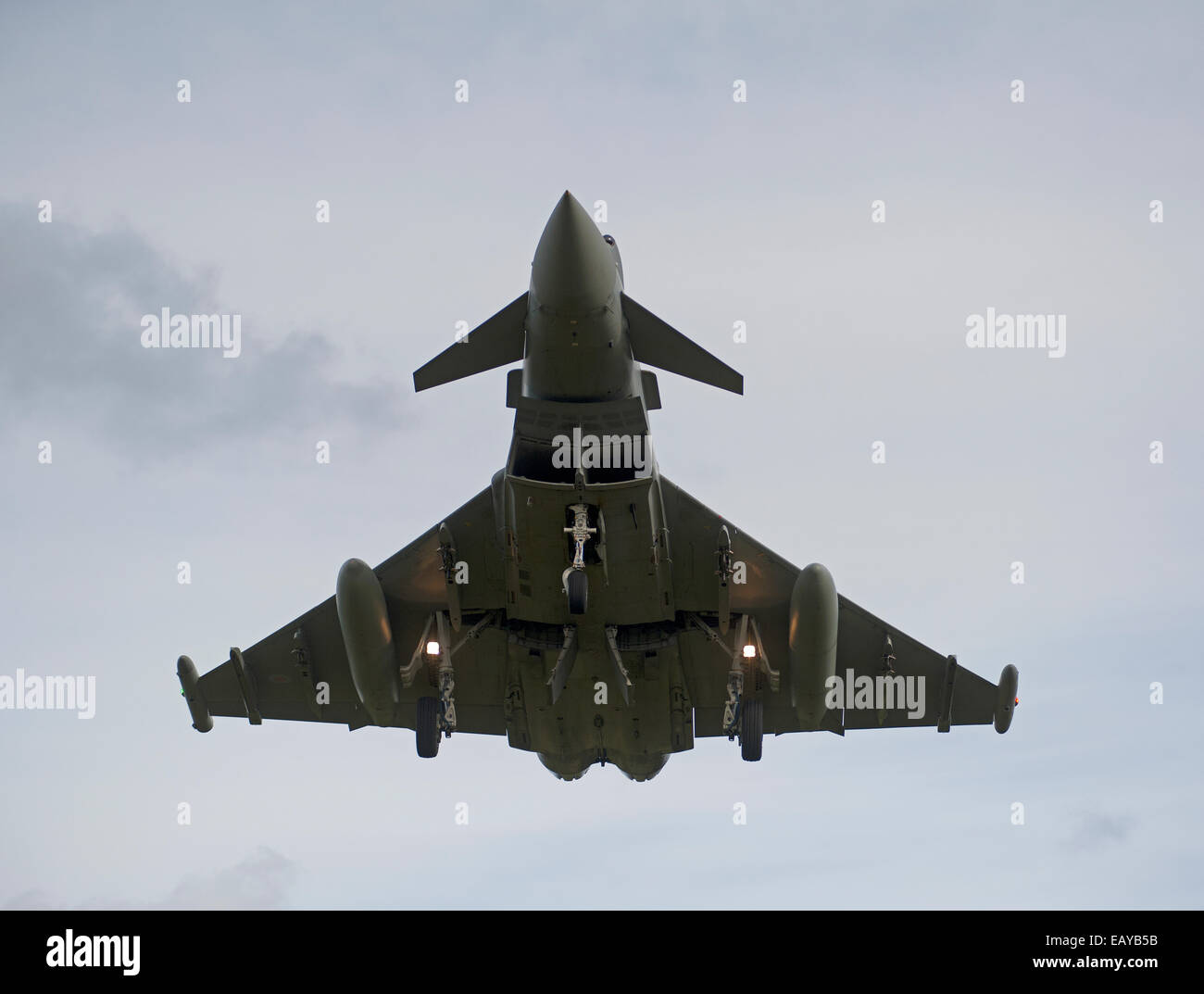 Eurofighter Typhoon FRG4 Military Fast Jet Fighter on approach to RAF Lossiemouth.  SCO 9170 - Stock Image