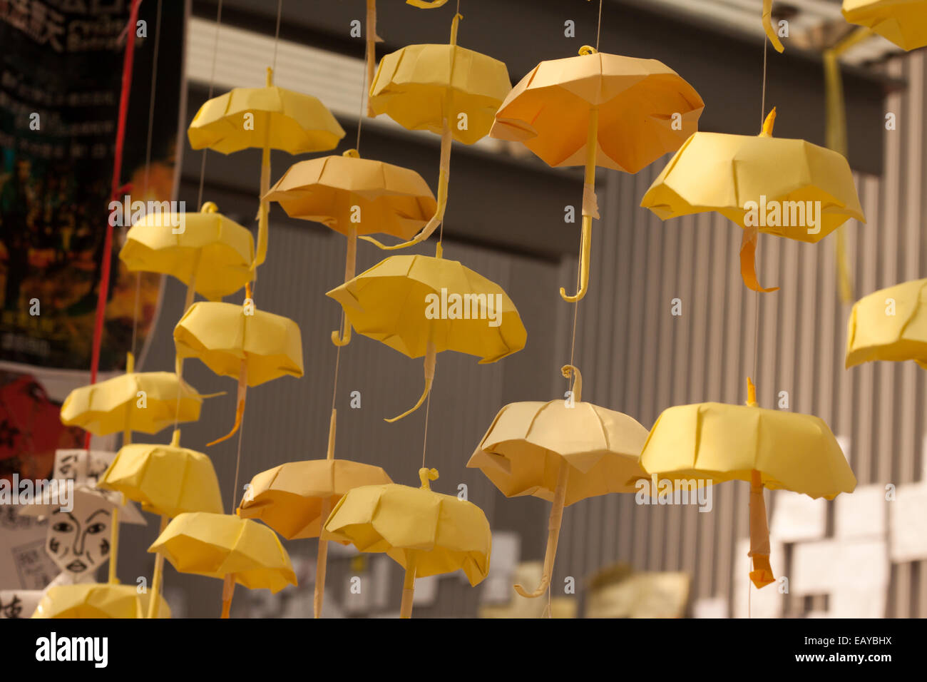 Yellow umbrellas, symbol of Occupy Central - Stock Image