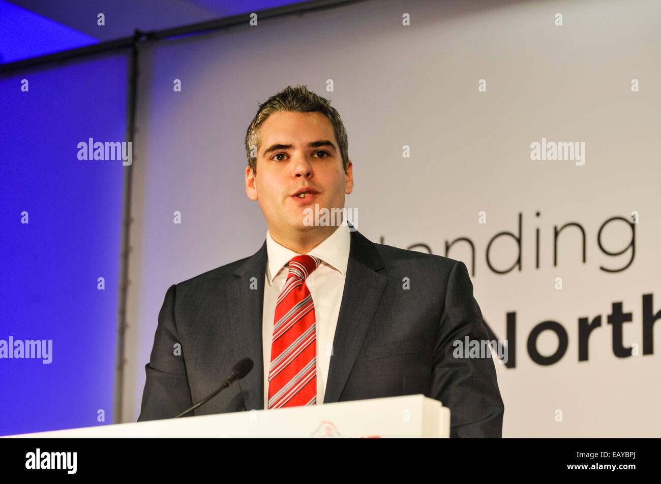 Belfast, Northern Ireland. 22nd Nov 2014. - Alderman Gavin Robinson addresses the DUP conference 2014 after being - Stock Image