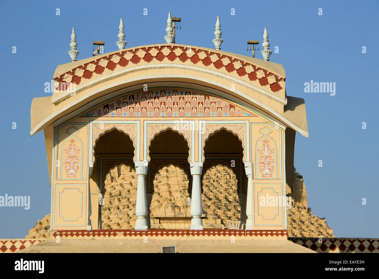 Upper portion of ISKCON Temple at Ahmedabad, Gujarath, India, Asia Stock Photo