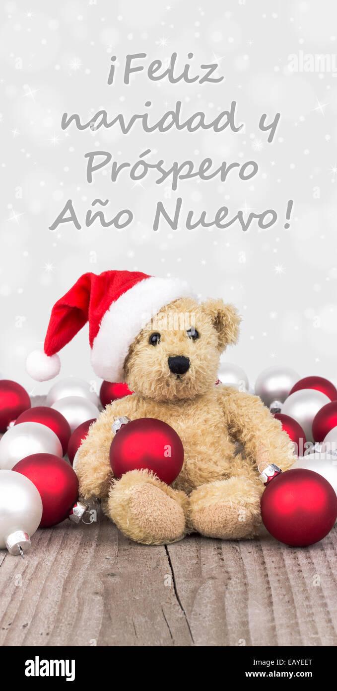 spanish Christmas card with teddy bear Stock Photo: 75592128 - Alamy