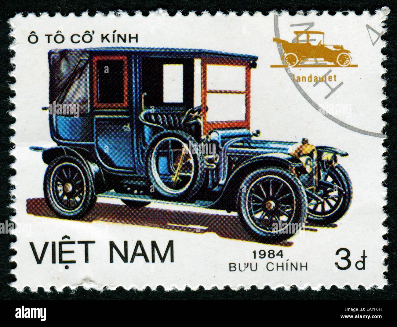 VIETNAM - CIRCA 1984: A stamp printed by VIETNAM shows old car, series, circa 1984 - Stock Image