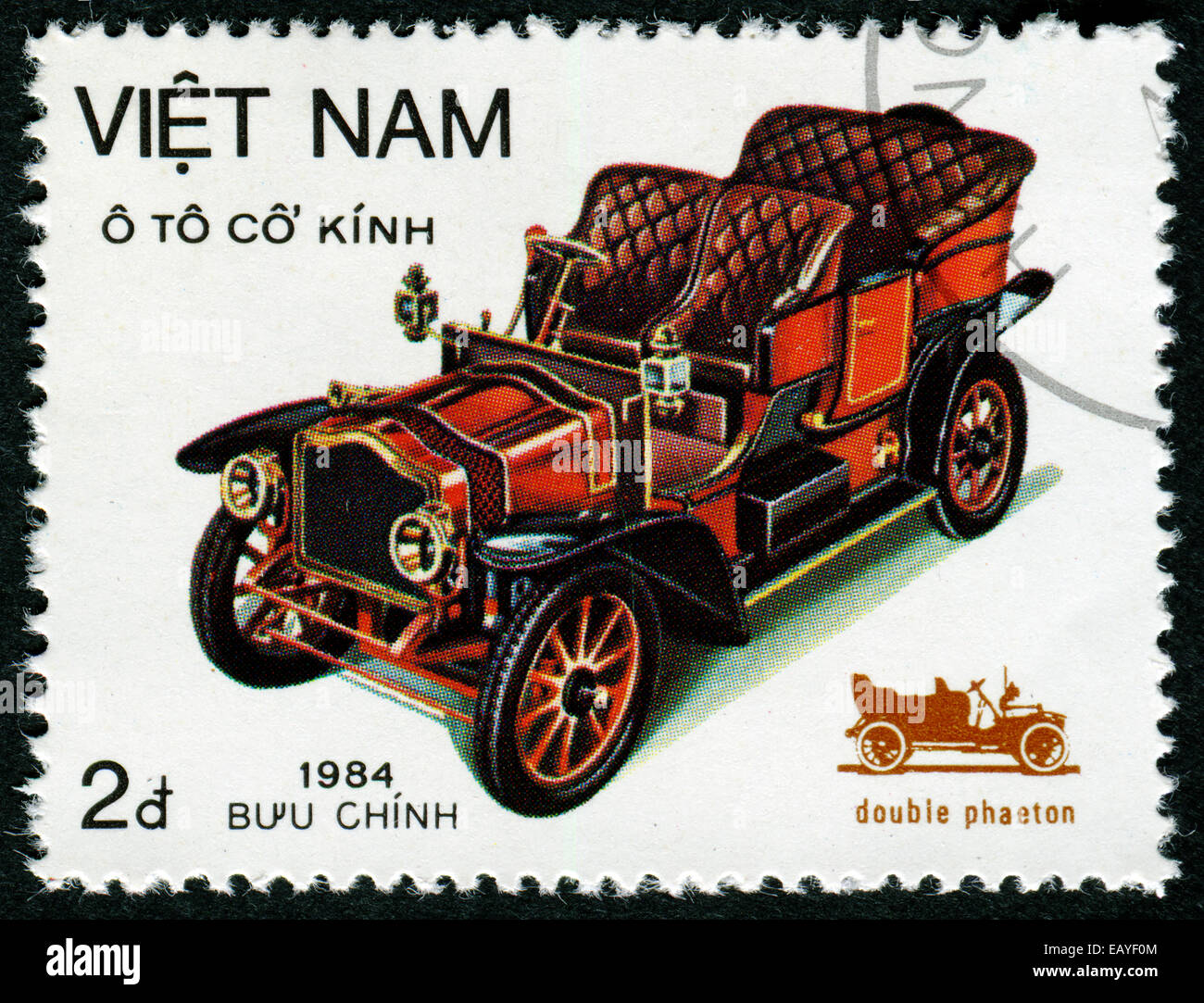 VIETNAM - CIRCA 1984: a stamp printed in Vietnam shows Double Phaeton, Vintage Automobile, circa 1984 - Stock Image