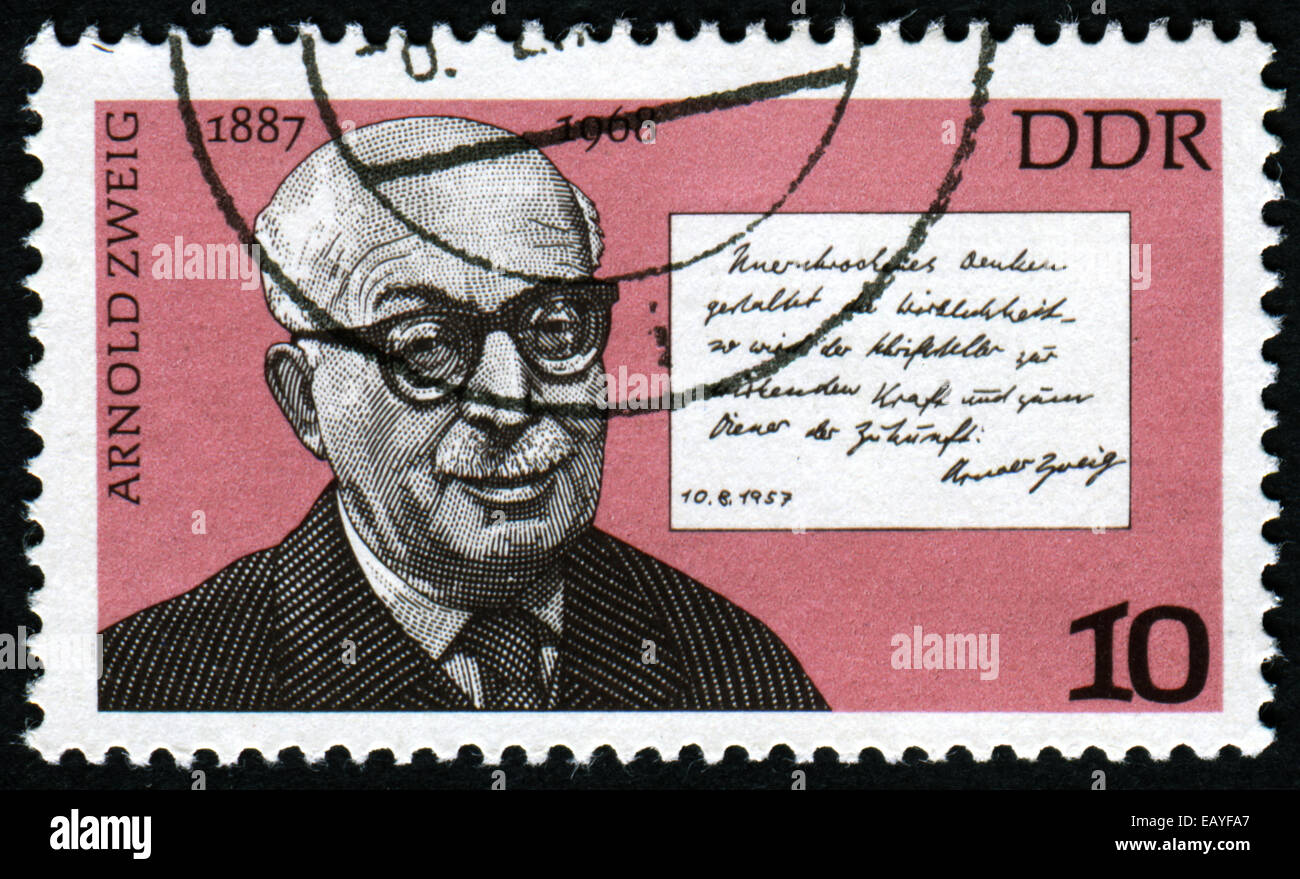 GERMANY- CIRCA 1976: stamp printed by Germany, shows Arnold Zweig and Quotation, circa 1976. - Stock Image