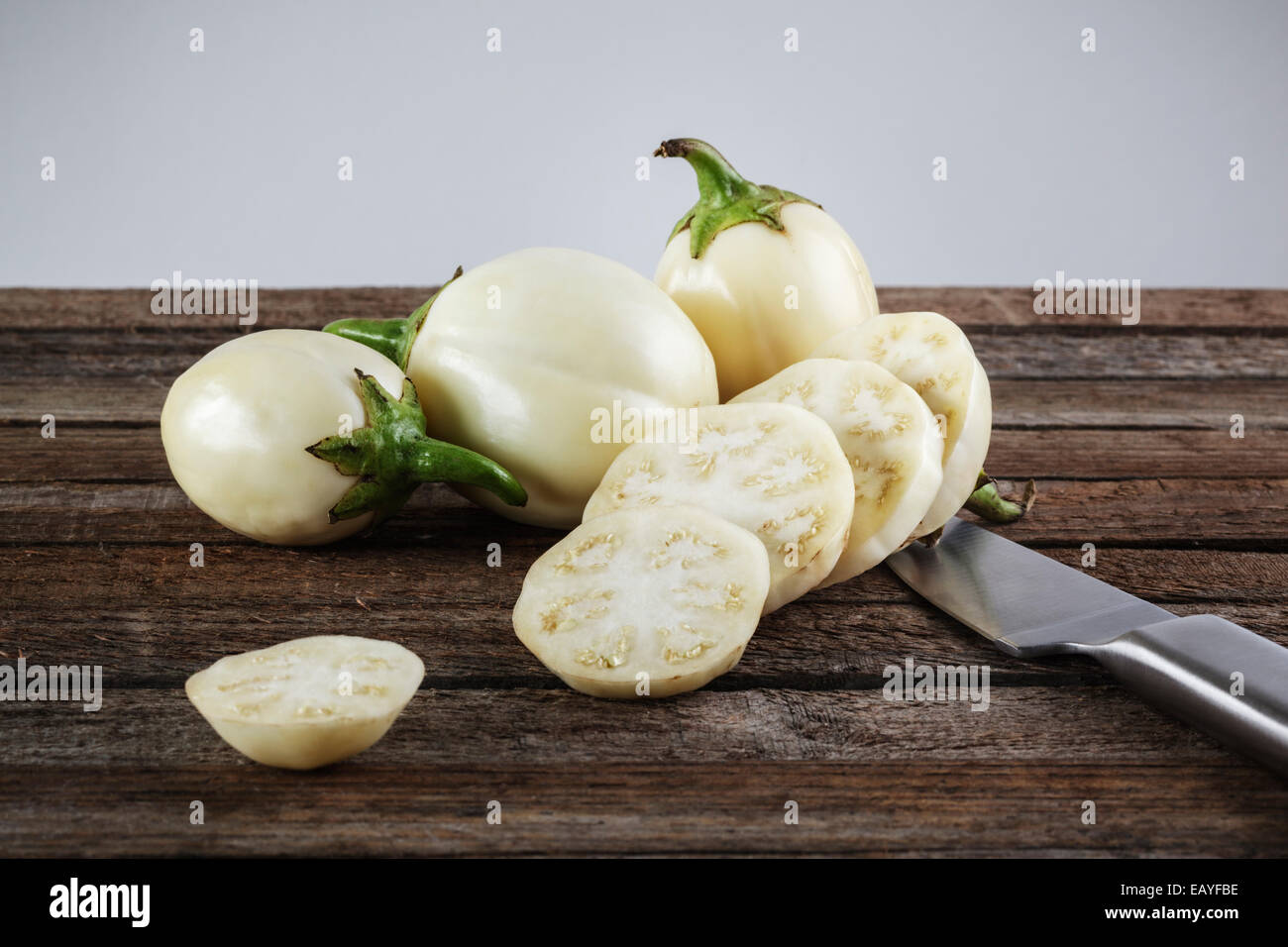 White Aubergines , Mini Eggplants - Stock Image