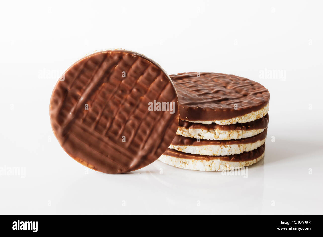 Stack of chocolate rice cakes - Stock Image