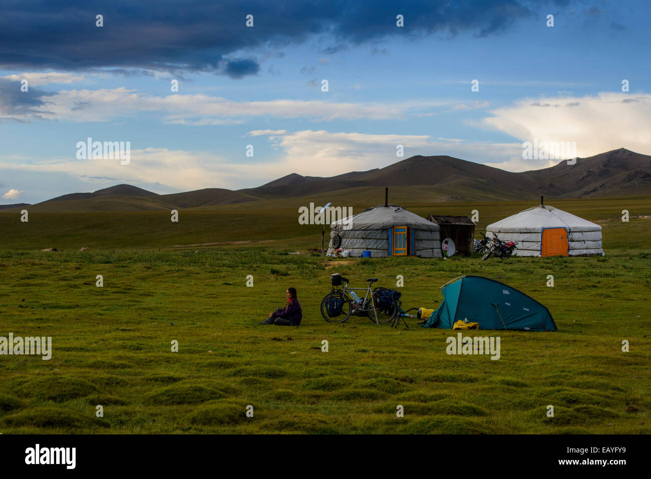 Camping next to traditional gers, Mongolia - Stock Image