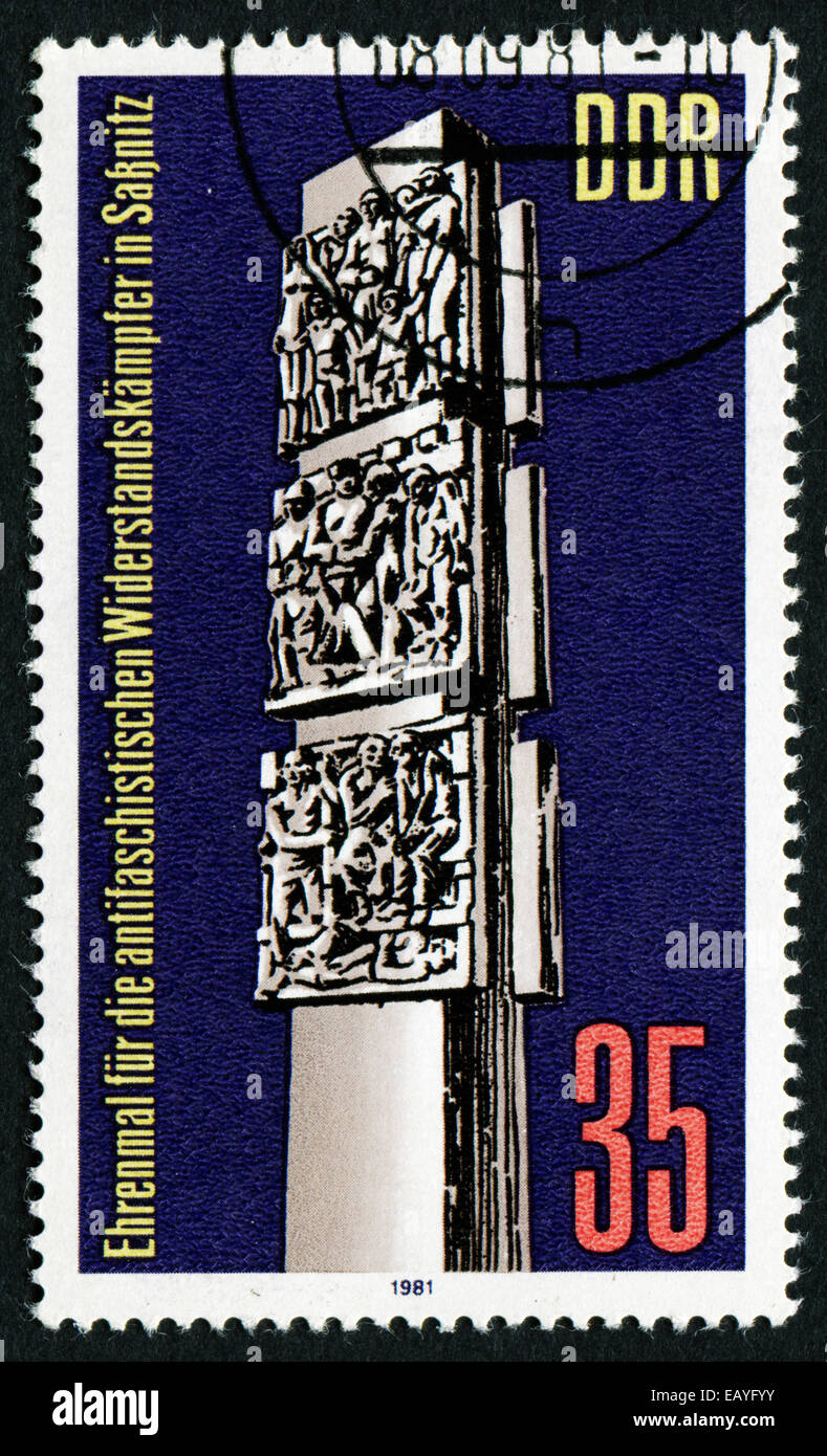 GERMANY- CIRCA 1981: stamp printed in Germany, shows Anti-Fascist Resistance Monument, Sassnitz, circa 1981. Stock Photo