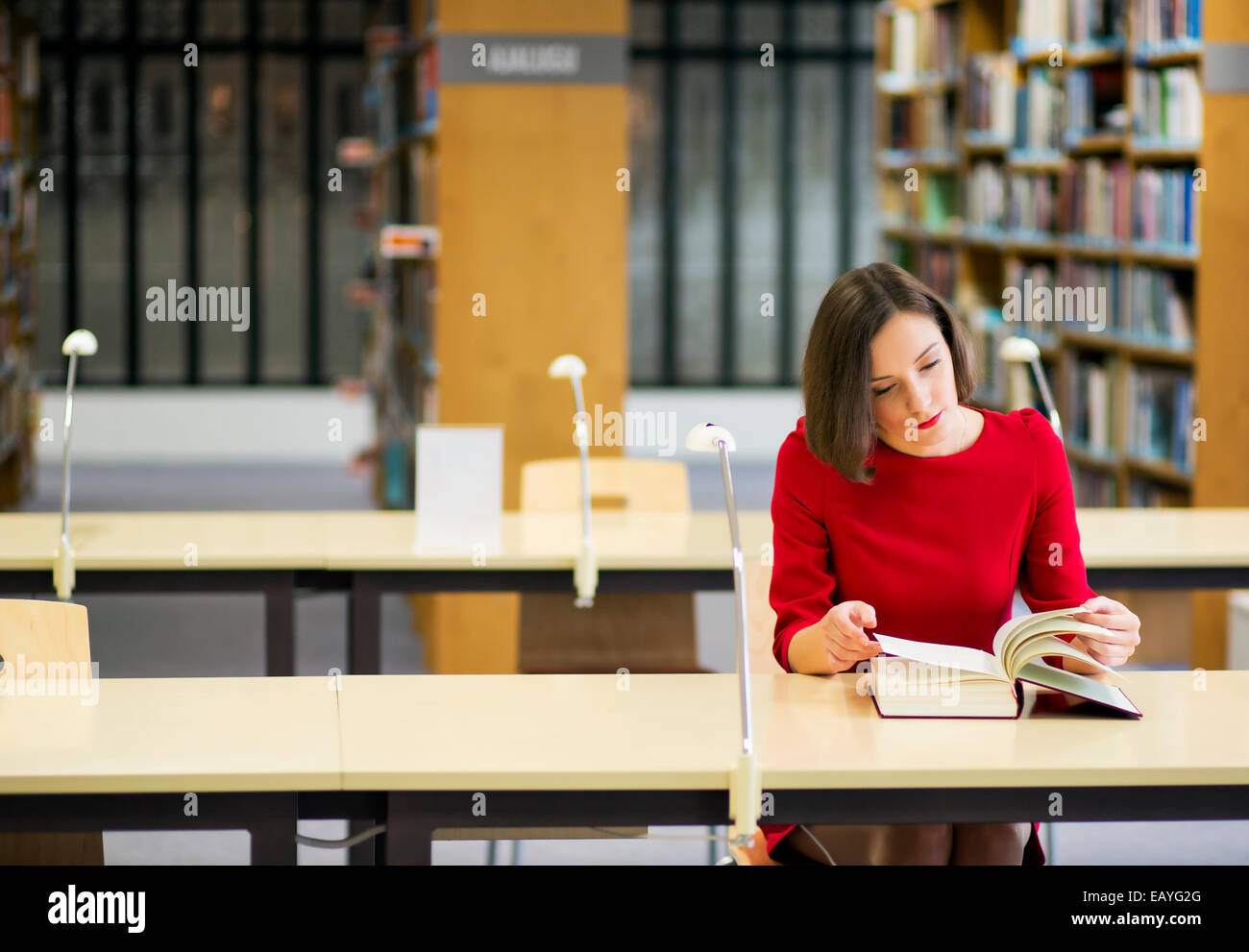Young woman in library seek knowledge from book - Stock Image