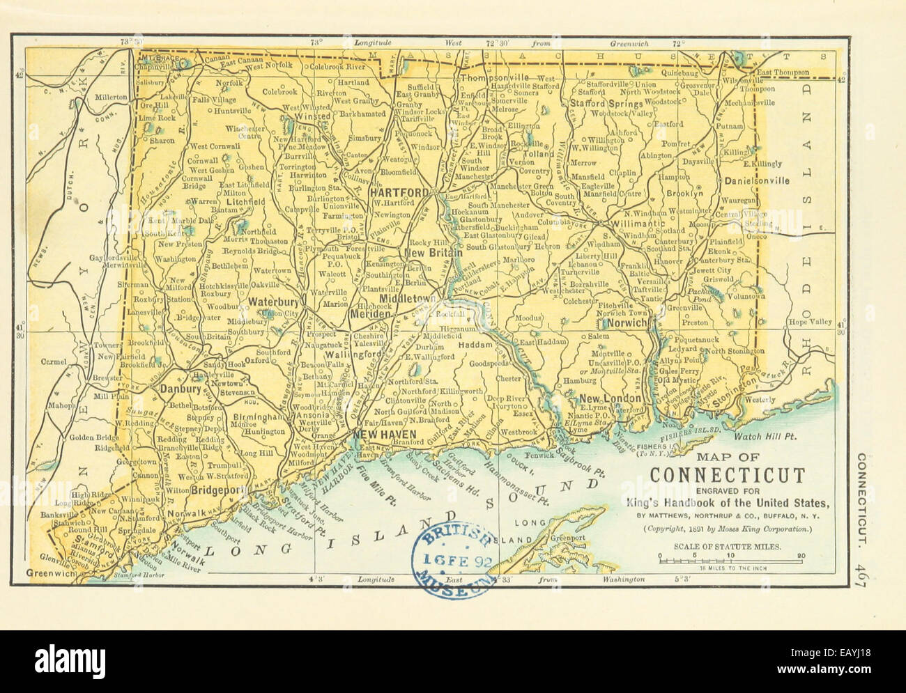 Connecticut In Us Map.Us Maps 1891 P469 Map Of Connecticut Stock Photo 75594884 Alamy