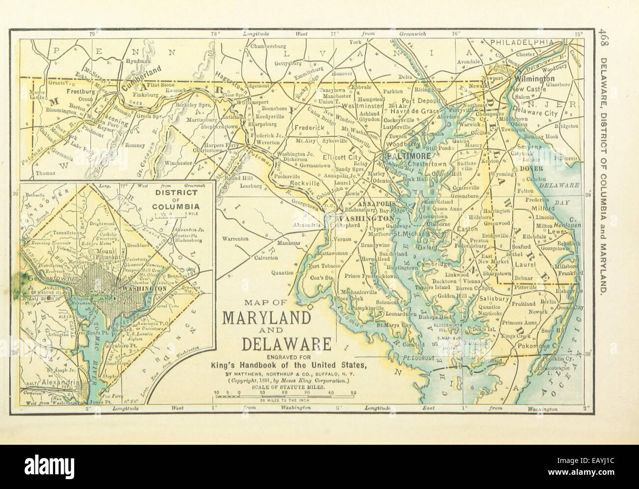 Us Maps1891 P470 Map Of Maryland Delaware And District Of Stock - Delaware-on-a-us-map