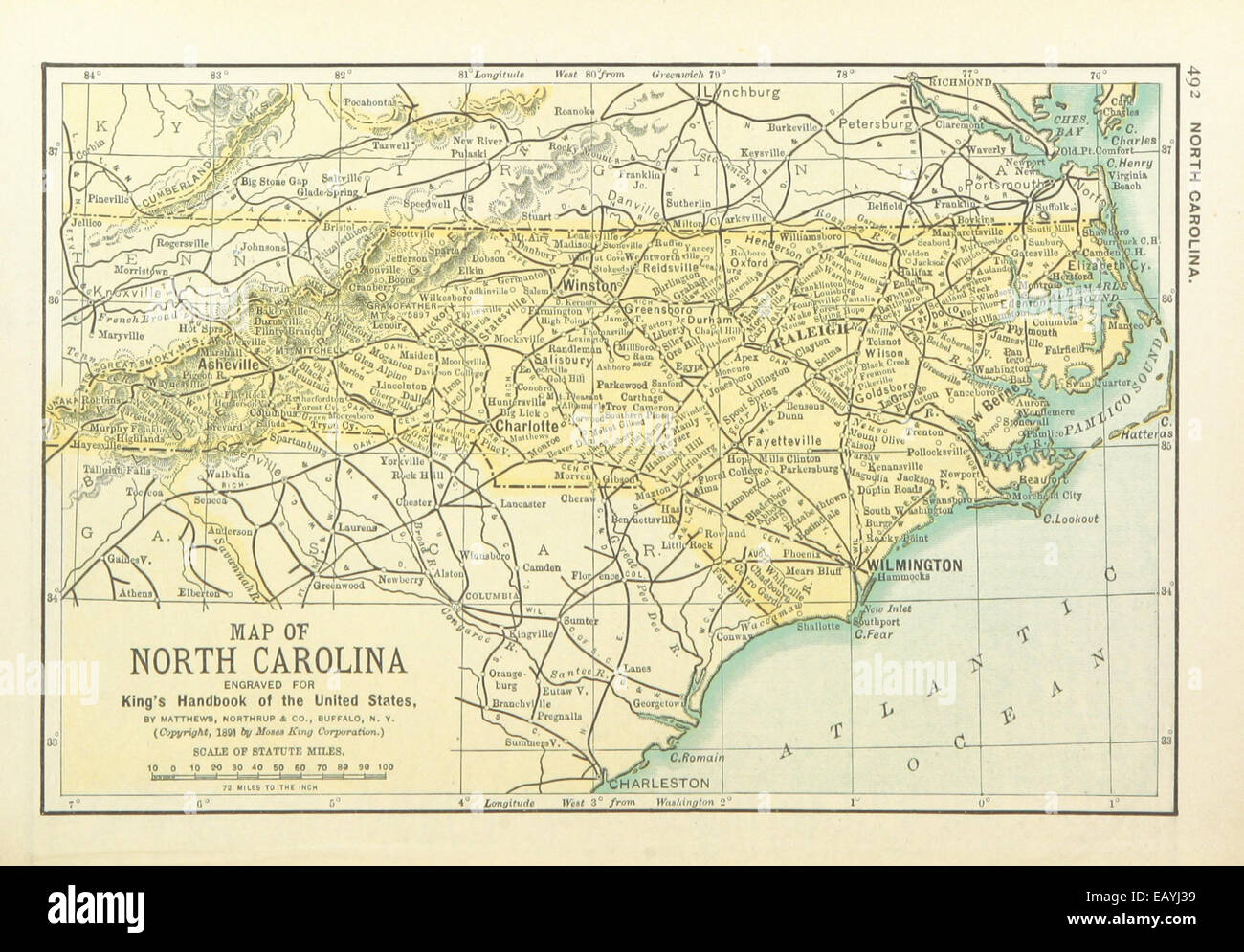 Us Maps1891 P494 Map Of North Carolina Stock Photo 75594941 Alamy - North-carolina-map-of-us