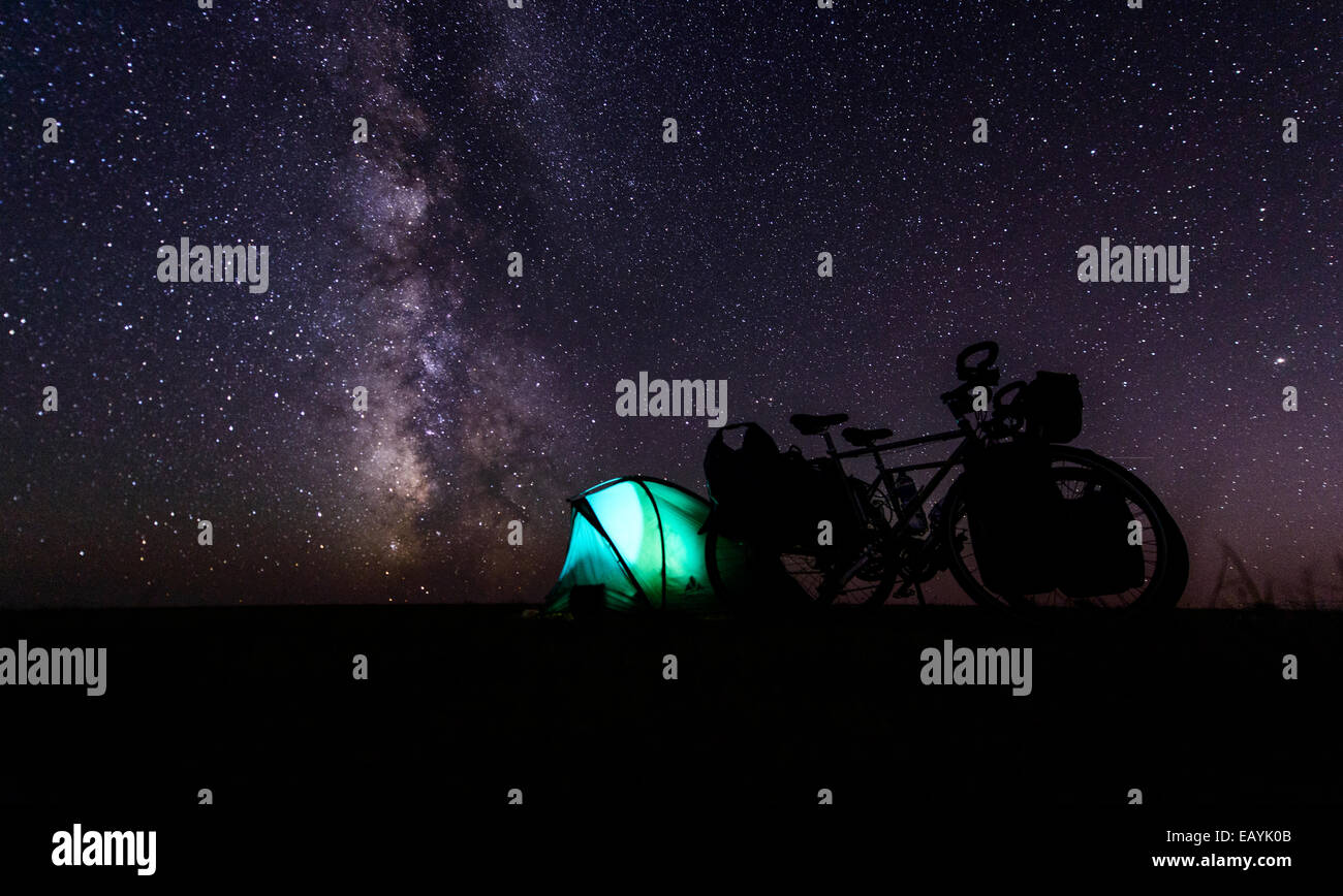 Camping under stars, Gobi desert, Mongolia Stock Photo