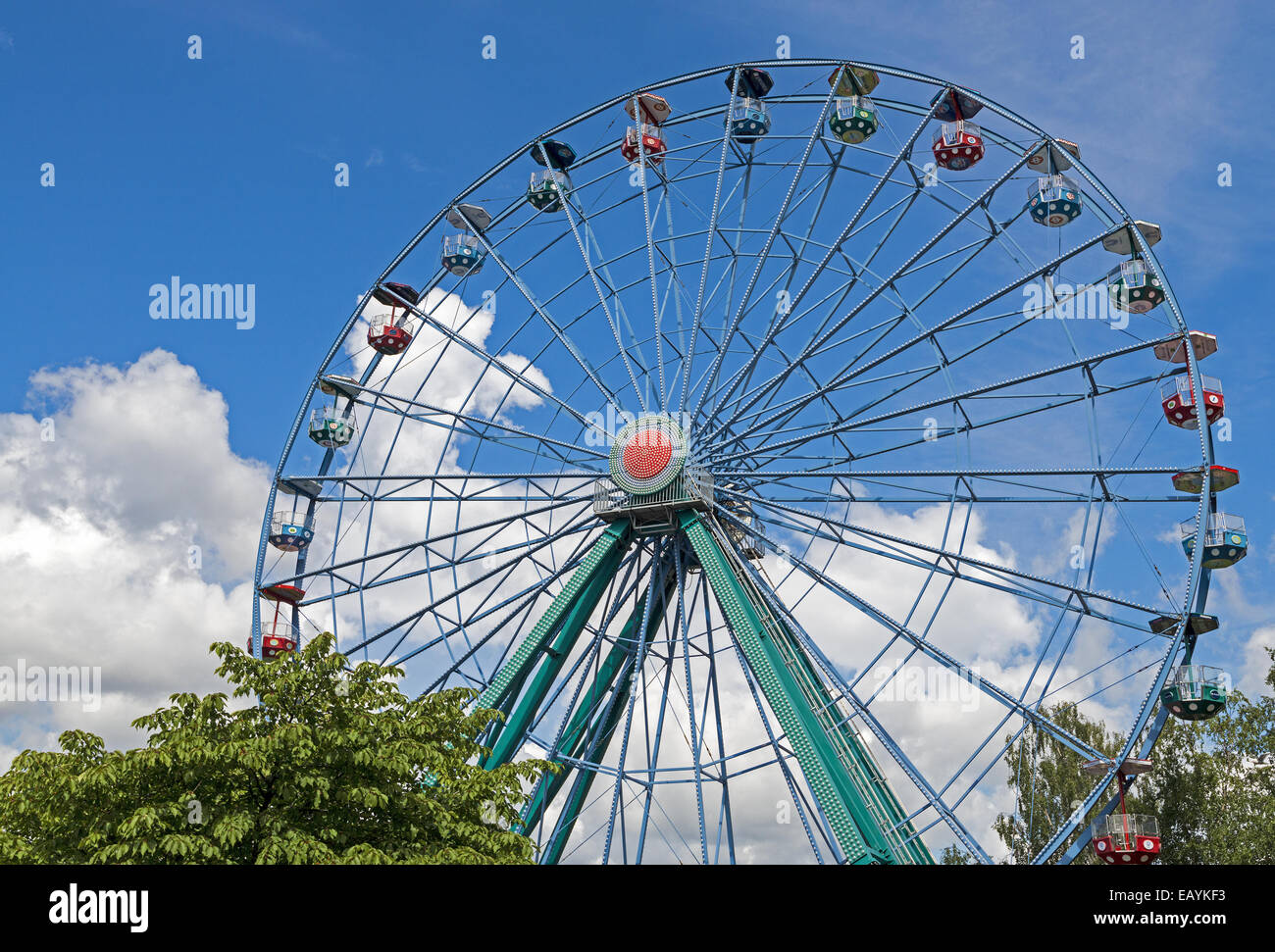 The Rinkeli a 32m tall Ferris wheel that opened in 2006 at Linnanmäki amusement park in Helsinki, Finland - Stock Image