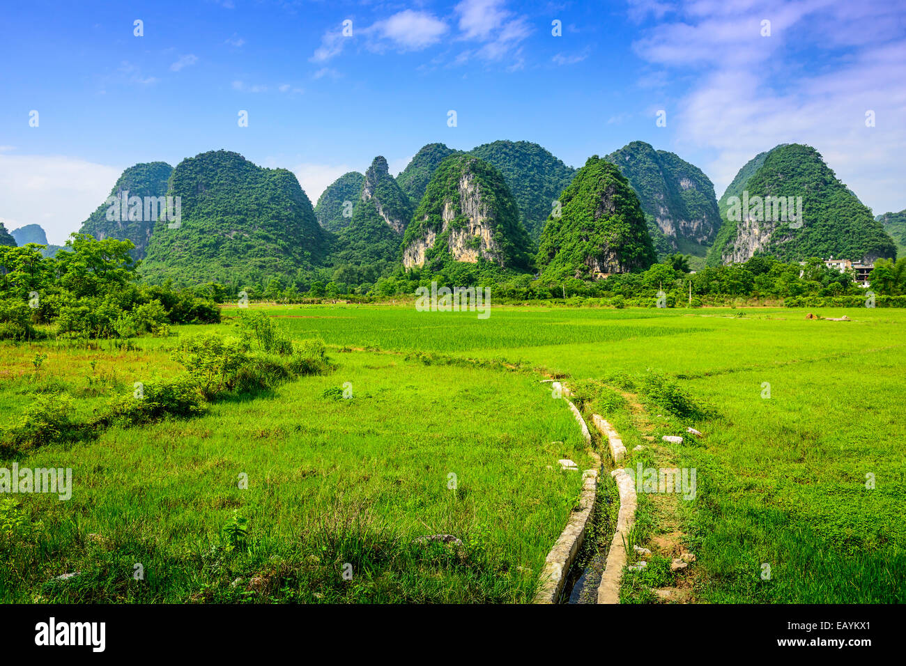 Karst Mountain landscape in rural Guilin, Guangxi, China. - Stock Image
