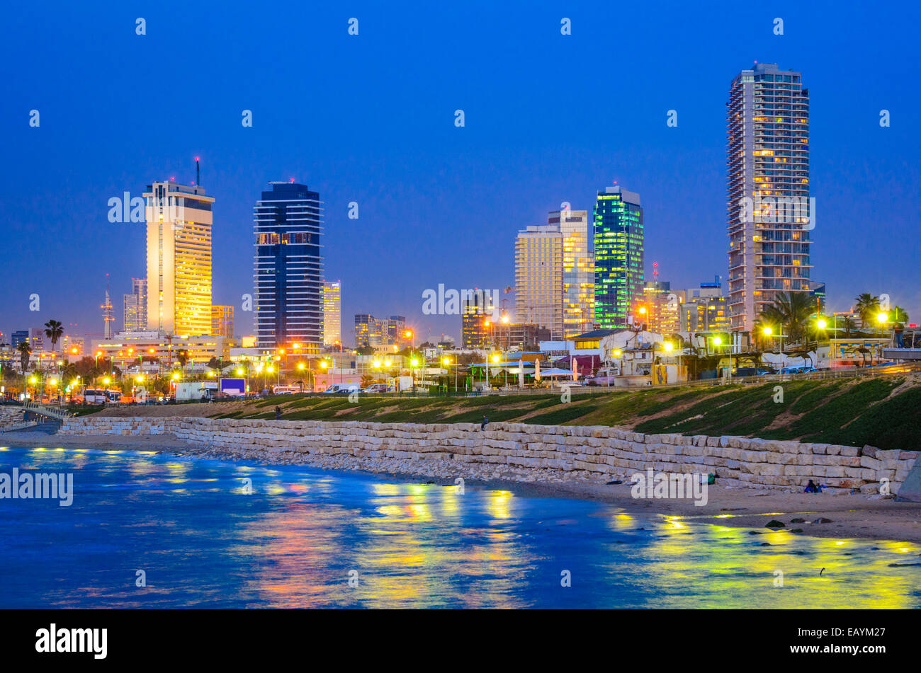 Tel Aviv, Israel Skyline on the Mediterranean. - Stock Image