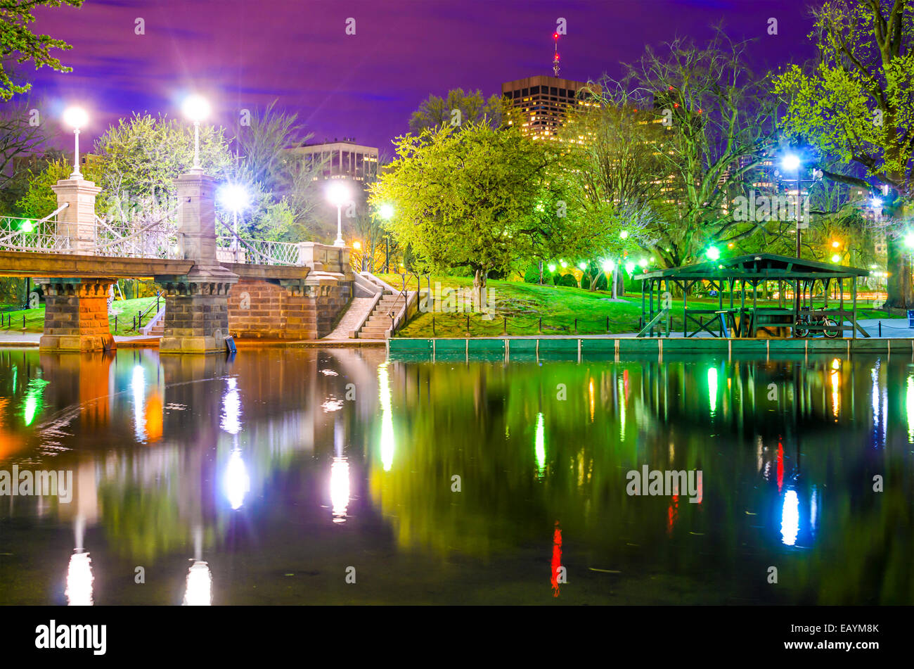 Lagoon Bridge and skyline of Boston, Massachusetts from the Boston Public Gardens. Stock Photo