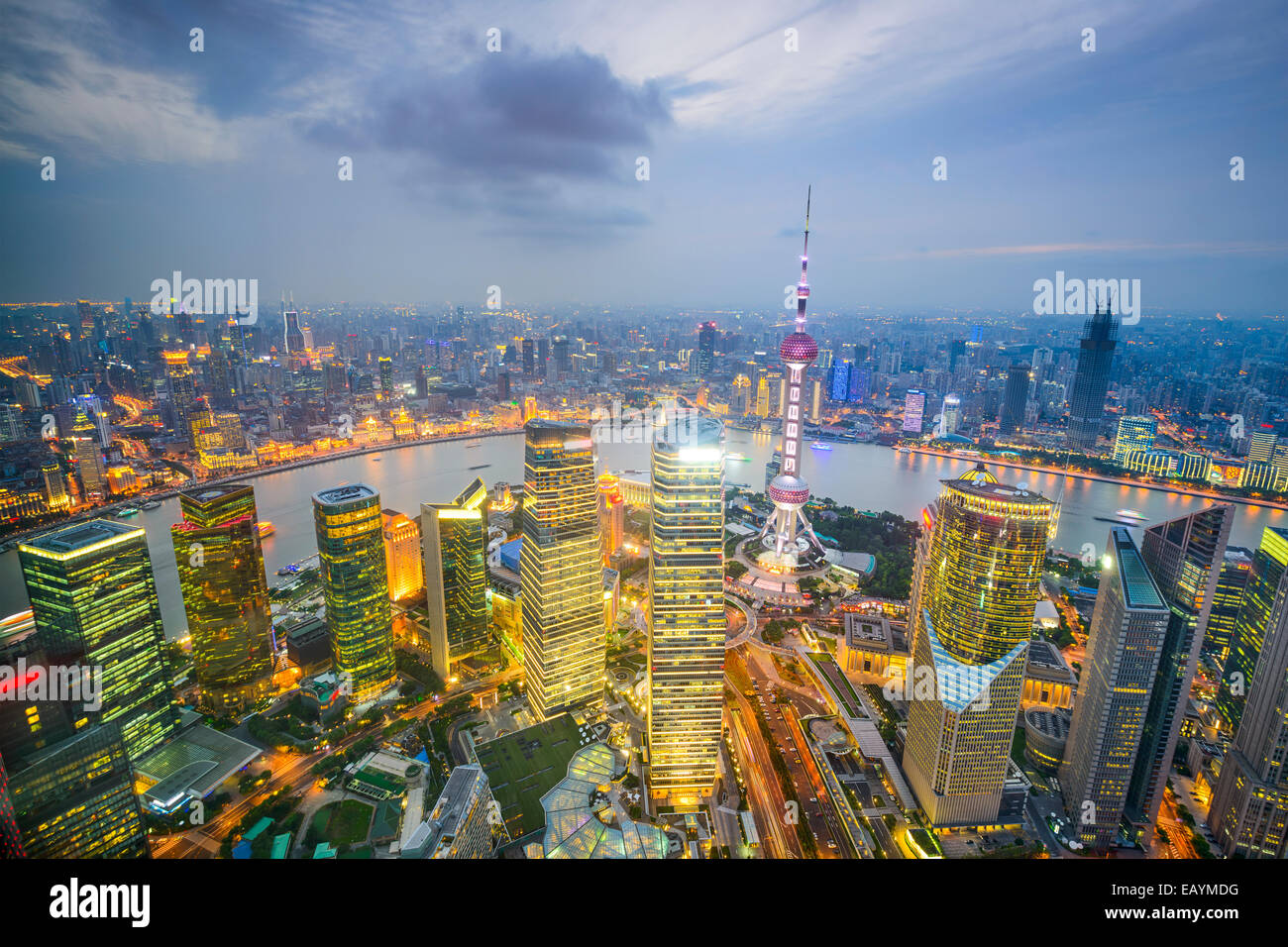 Shanghai, China city skyline viewed from above the Pudong Financial District. - Stock Image