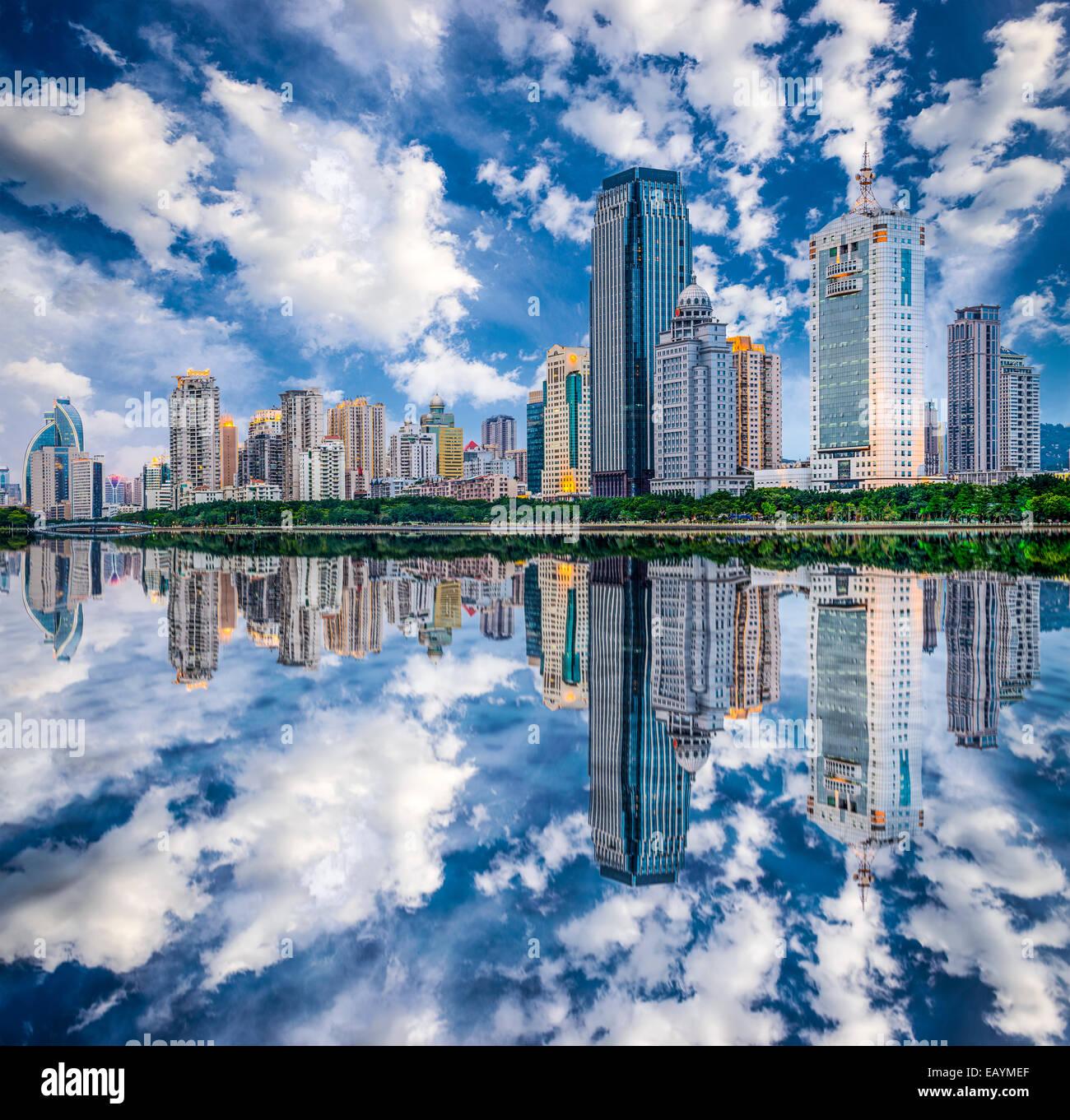 Xiamen, China skyline on Yundang Lake. - Stock Image