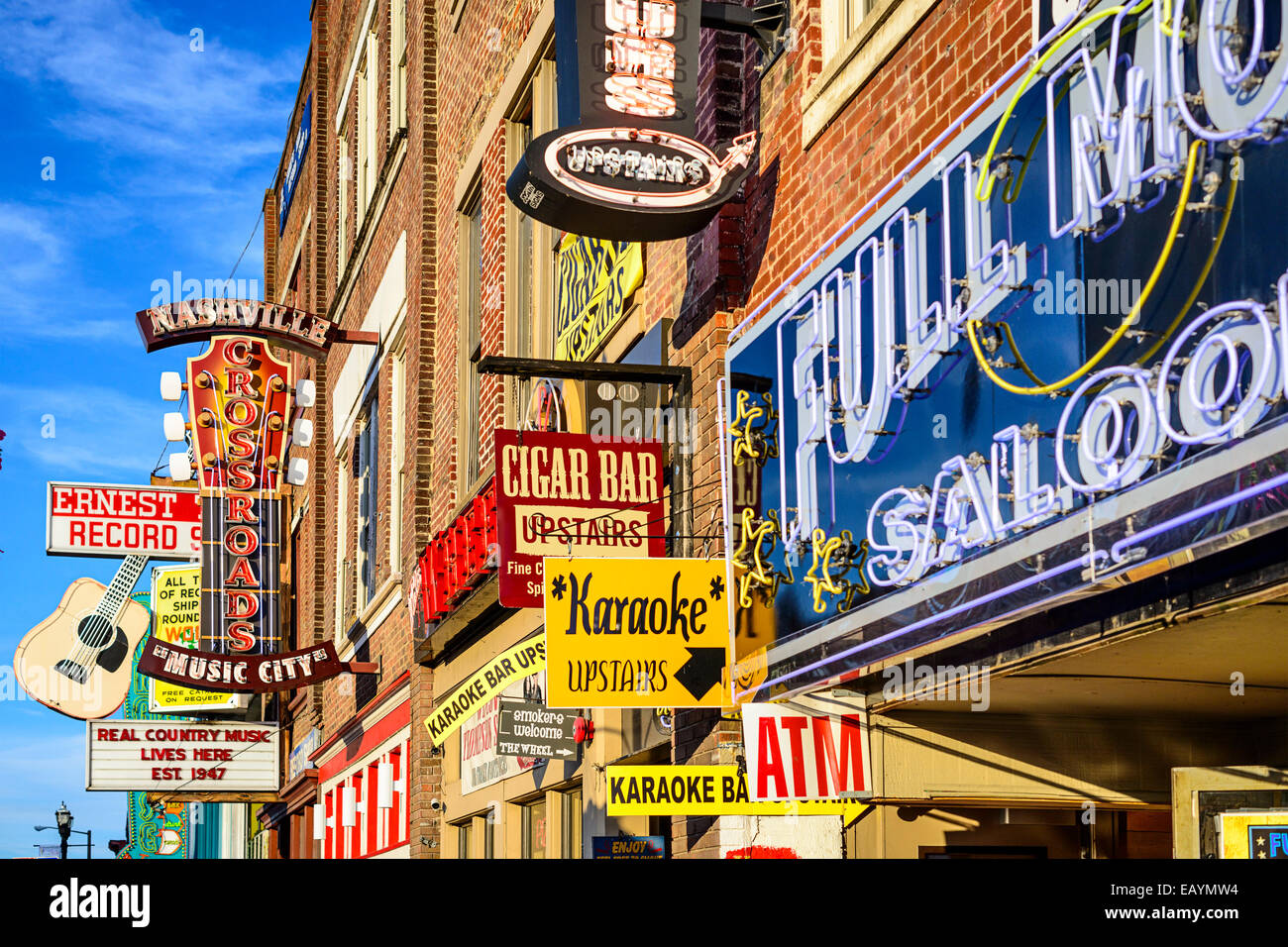 Honky-tonks on Lower Broadway. The district is famous for the numerous country music entertainment establishments. - Stock Image