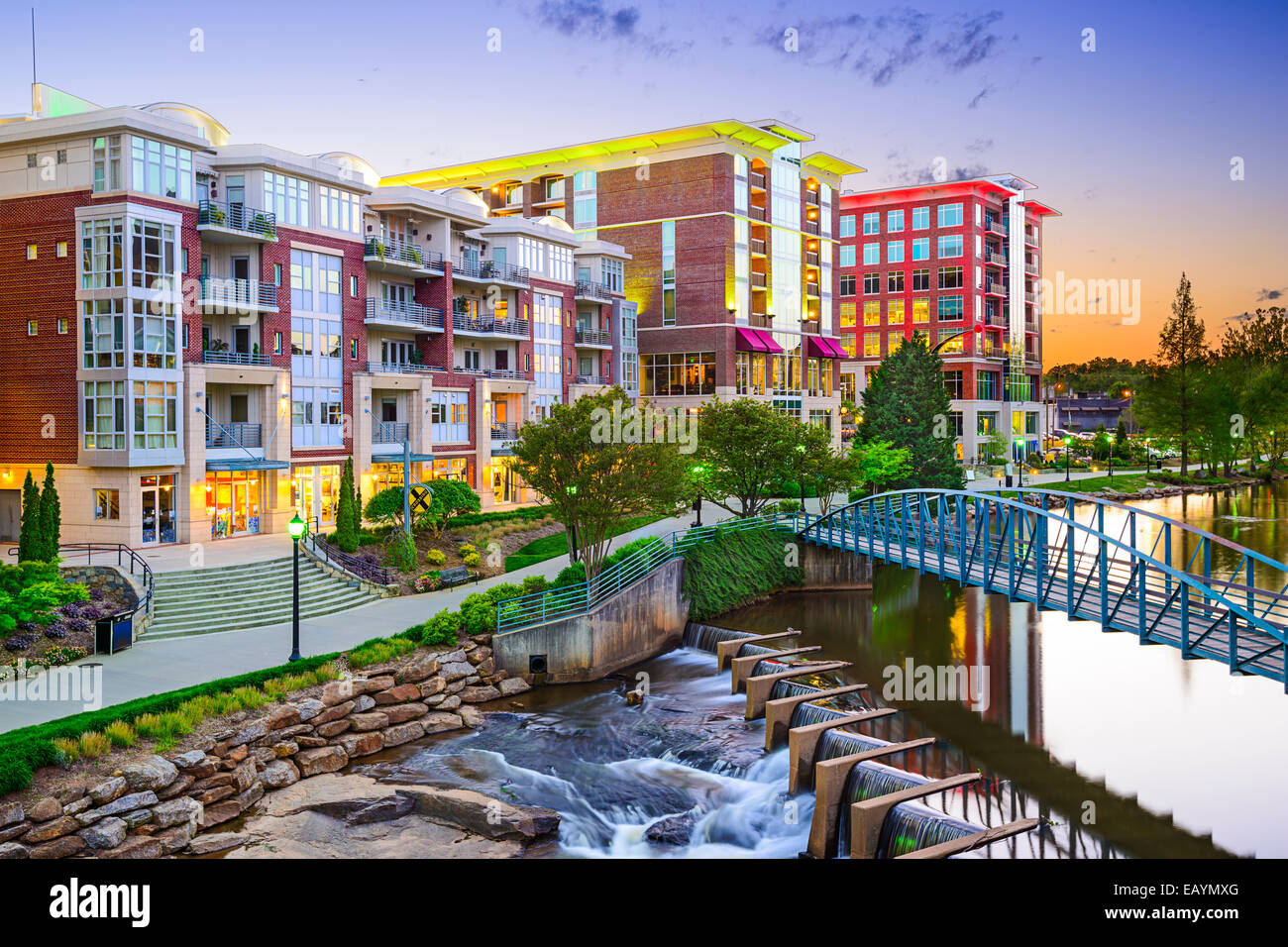 Greenville, South Carolina town cityscape - Stock Image