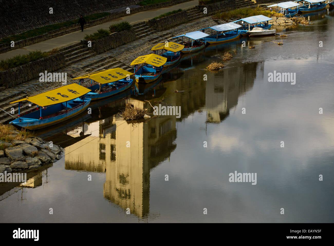 River boats in Kumamoto, Kyushu, Japan - Stock Image