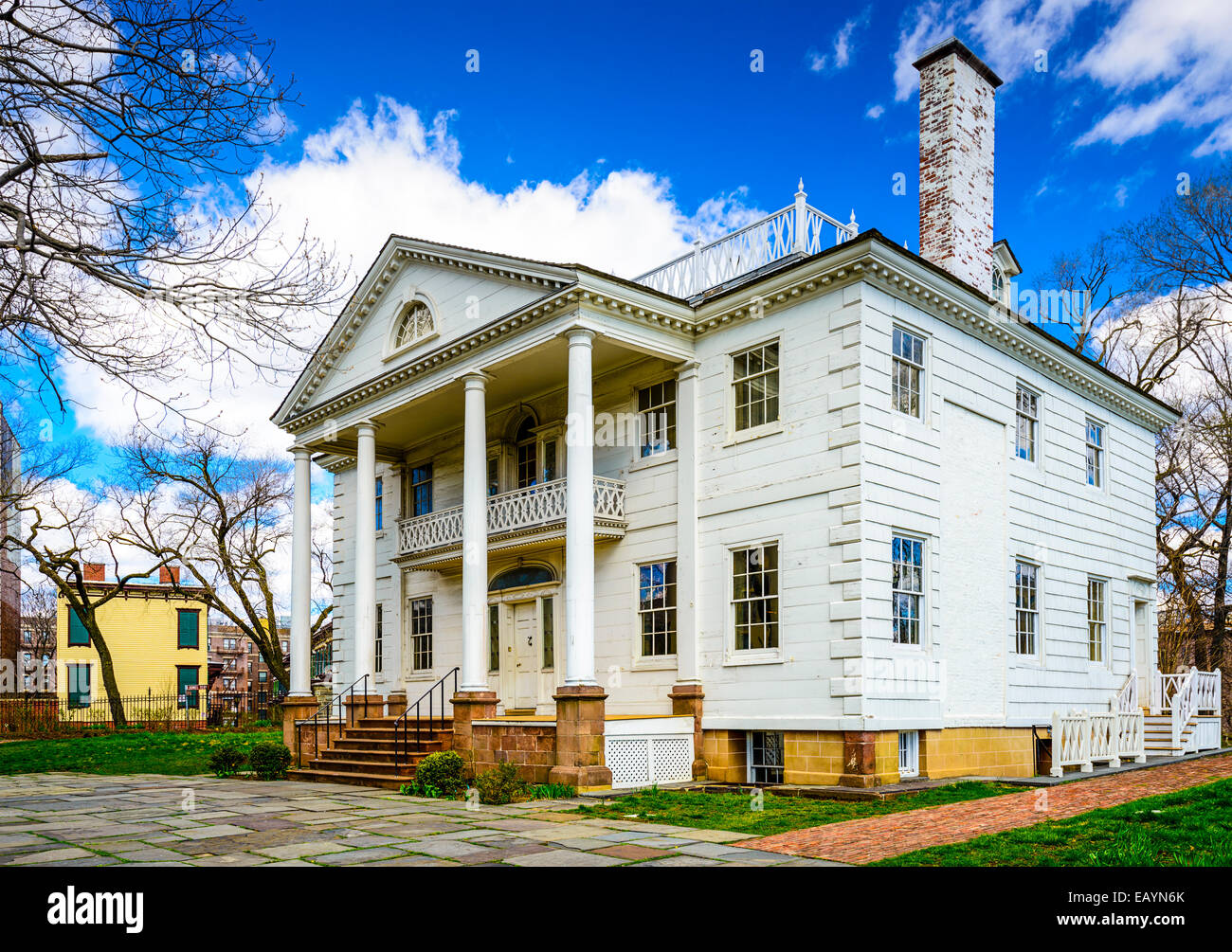 The historic Morris-Jumel Mansion in Roger Morris Park, Washington Heights, New York, New York, USA. - Stock Image
