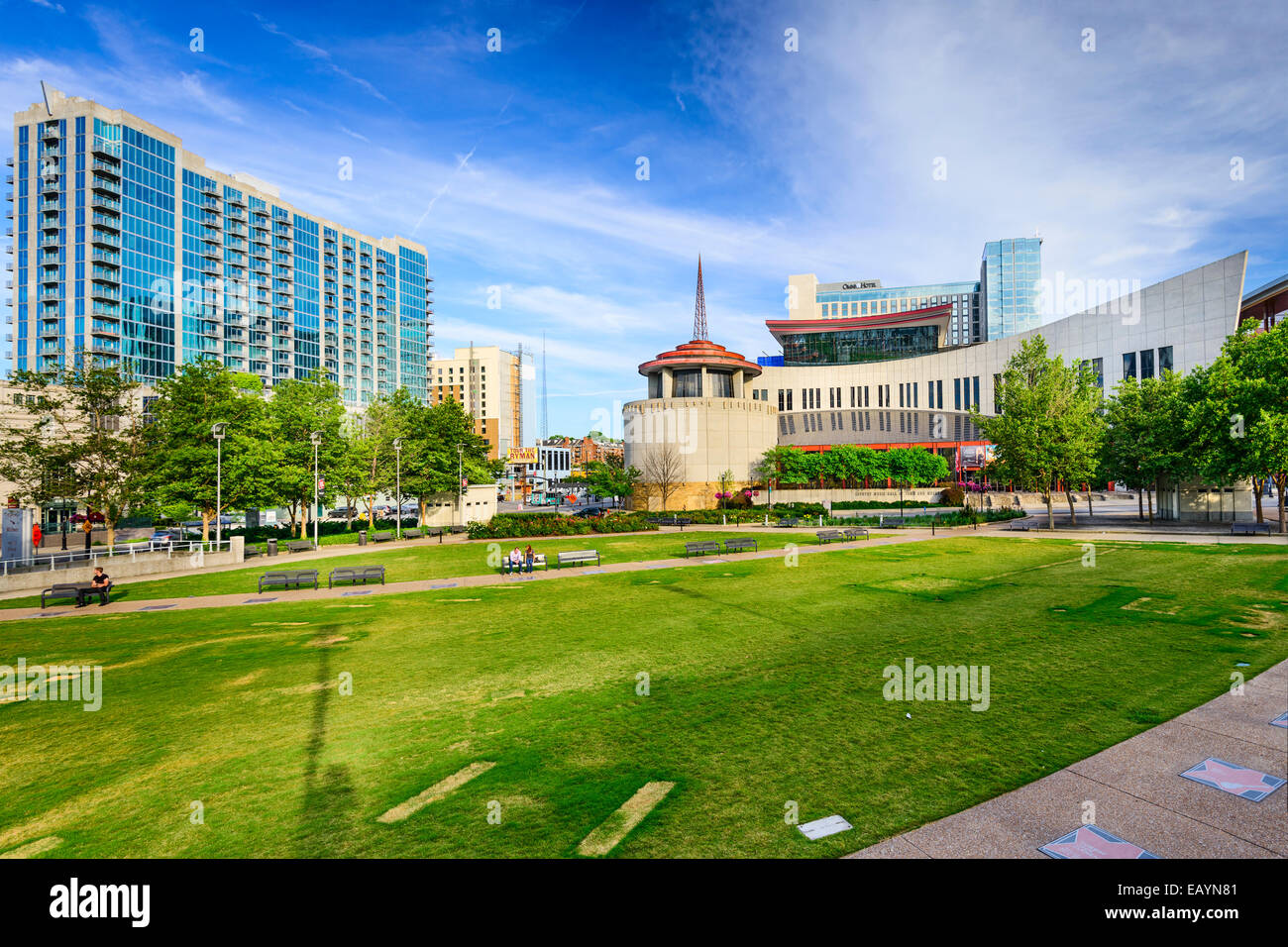 Country Music Hall of Fame viewed from Music City Walk of Fame Park. - Stock Image