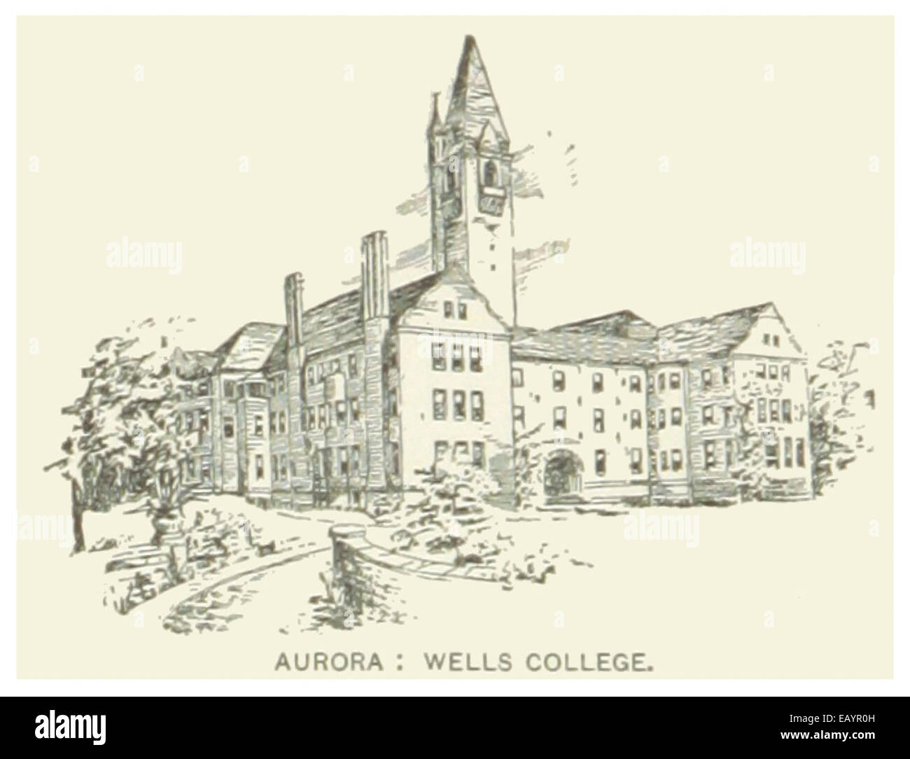 US-NY(1891) p600 AURORA, WELLS COLLEGE - Stock Image