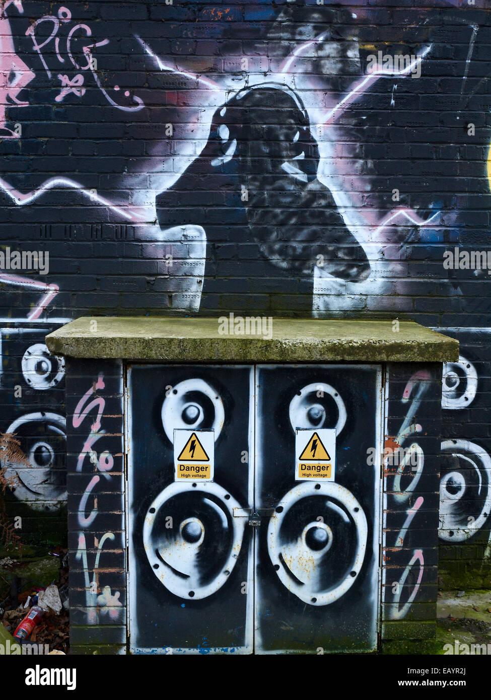 Dj Graffiti On Wall Stock Photo Alamy