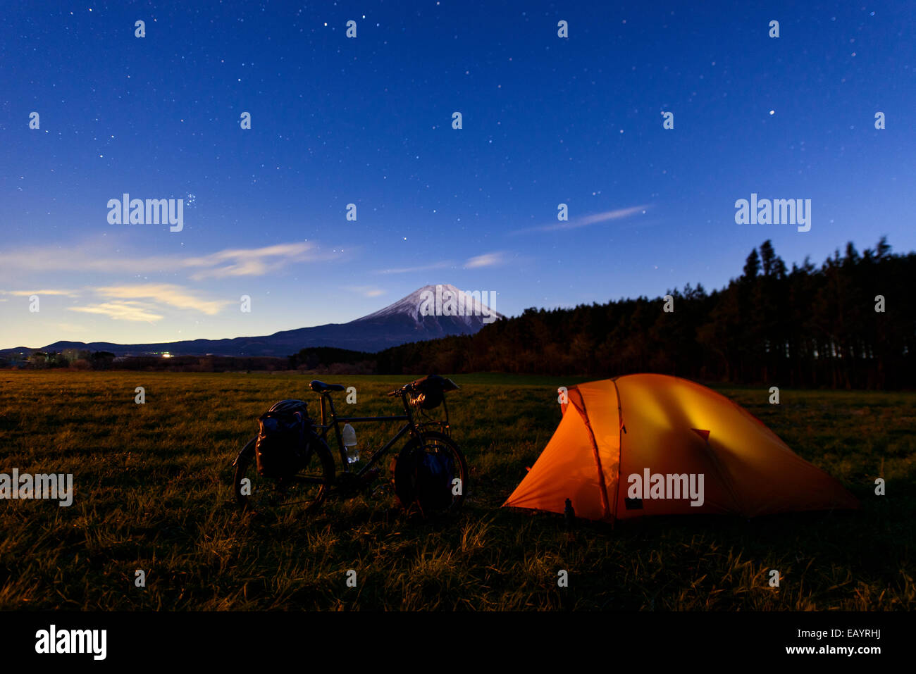 Camping near mount Fuji, Japan - Stock Image
