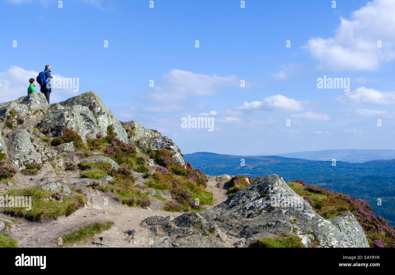 Hill Walkers at Ben A'an Summit, Trossachs, Stirlingshire, Scotland, UK - Stock Image