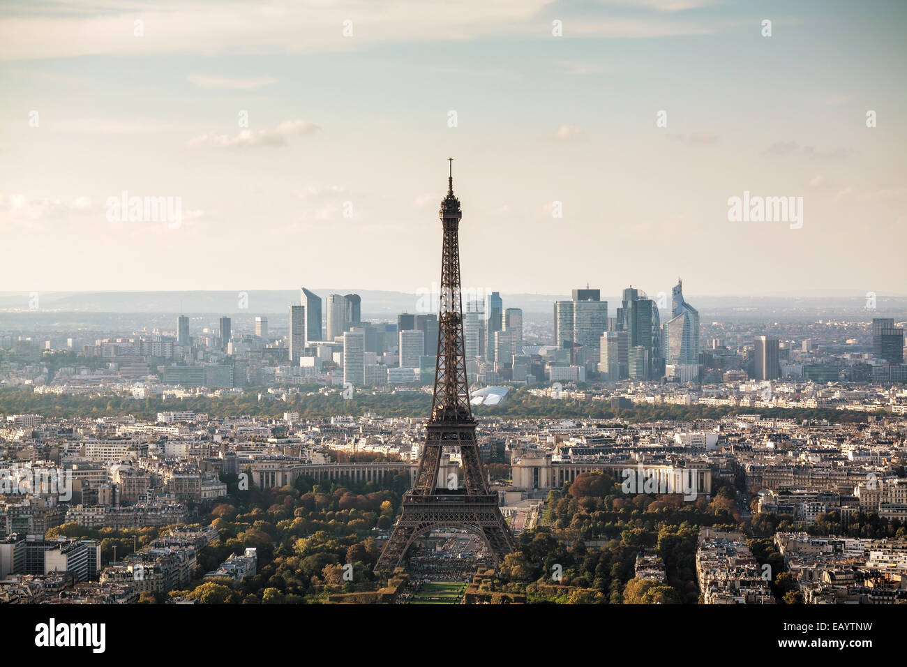 Aerial view of Paris with the Eiffel tower Stock Photo