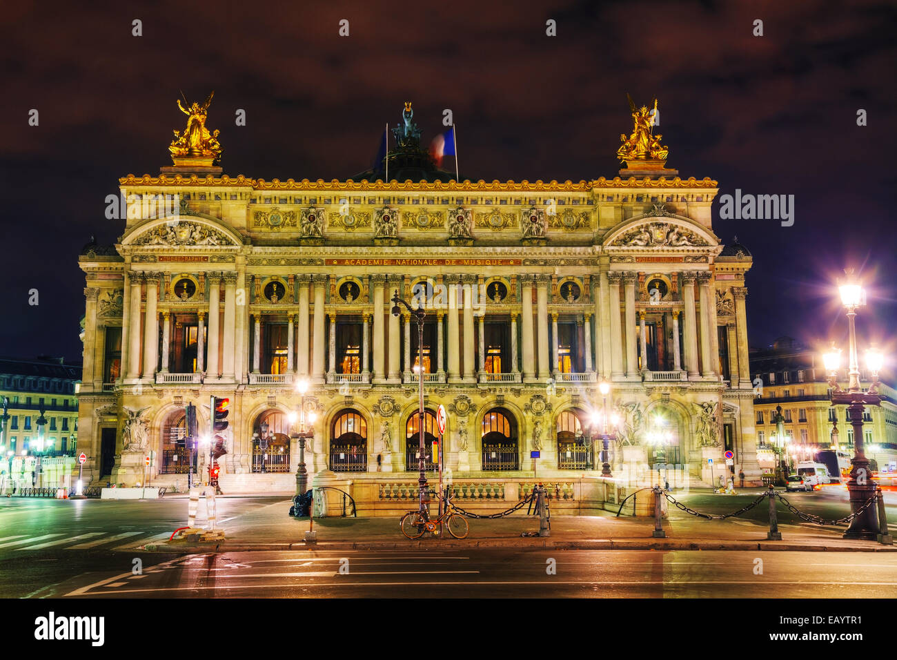 The Palais Garnier (National Opera House) in Paris, France in the night - Stock Image
