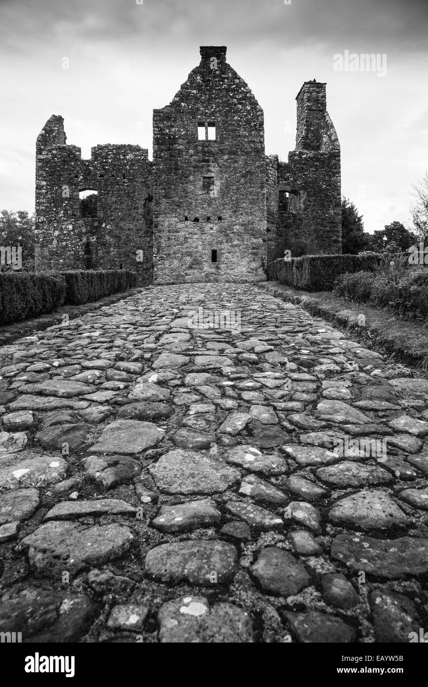 Tully Castle, County Fermanagh, Northern Ireland in black & white. - Stock Image